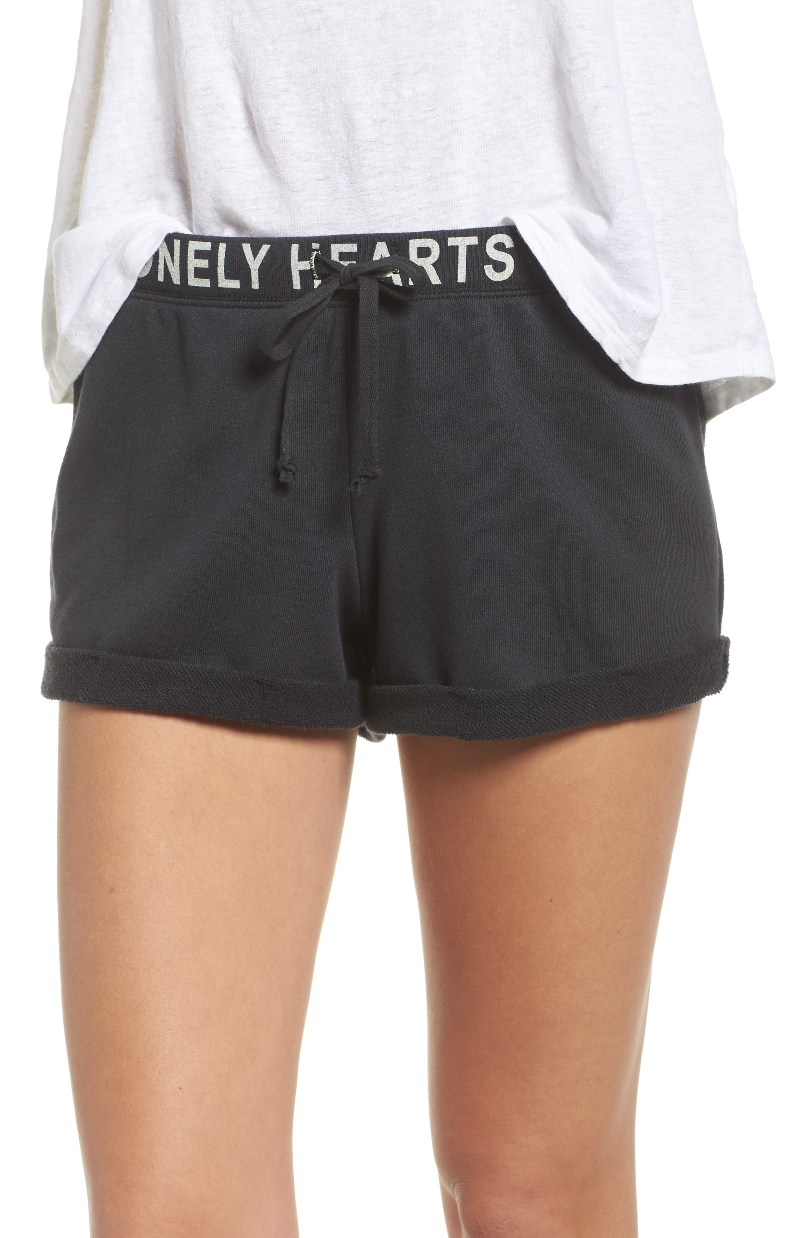 Lonely Hearts Club Lounge Shorts,                         Main,                         color, Jet Black