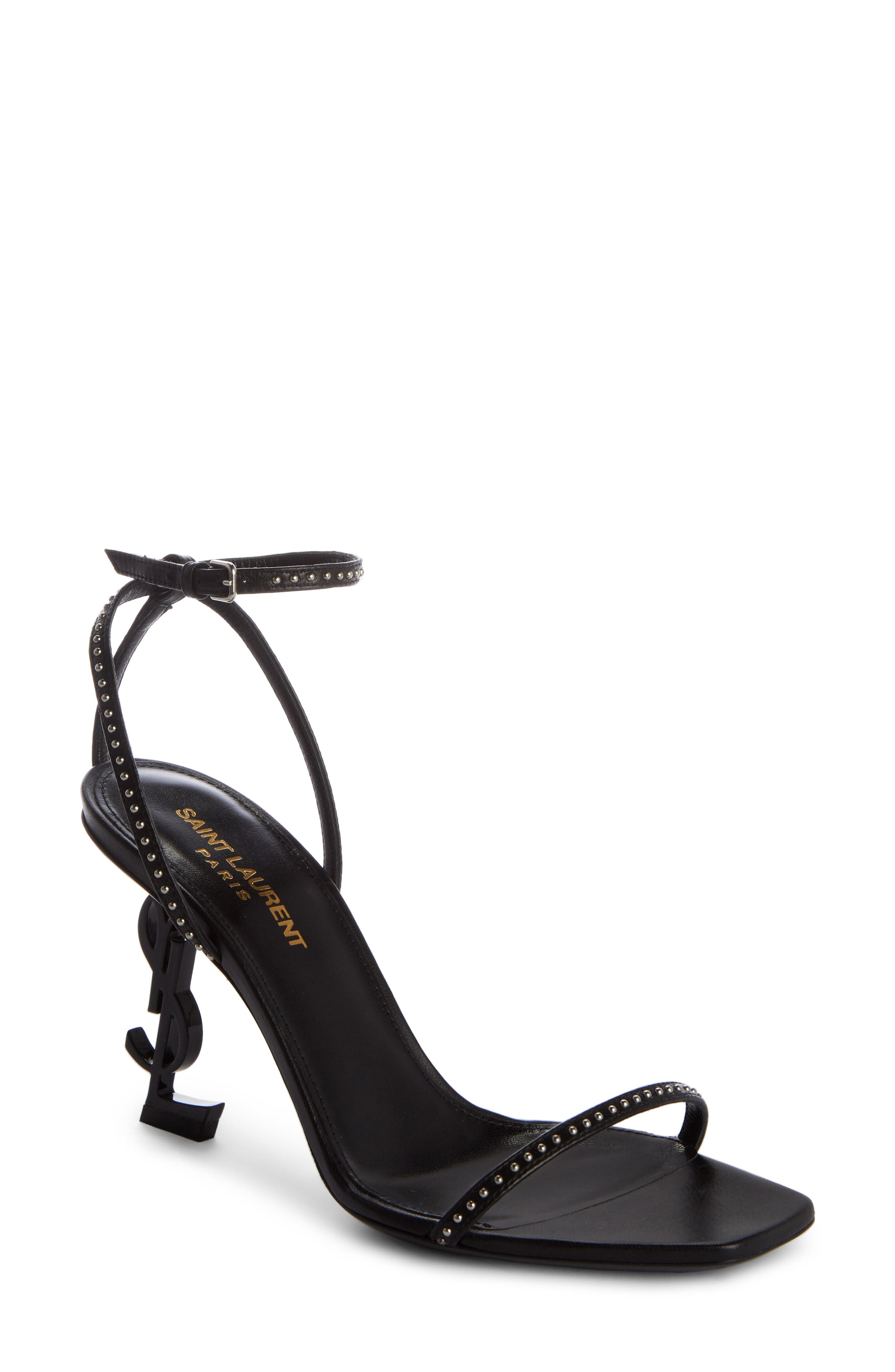 Saint Laurent Opyum YSL Studded Ankle Strap Sandal (Women)