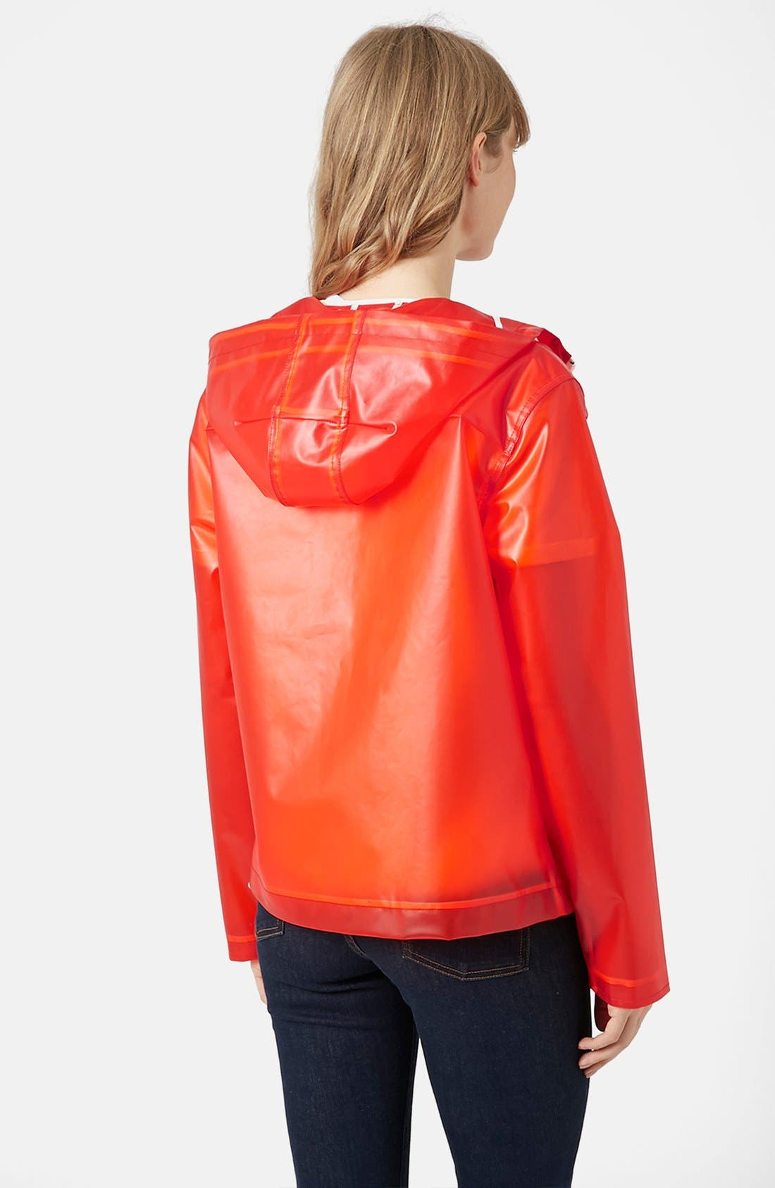 Alternate Image 2  - Topshop 'Bongo' Hooded Plastic Raincoat (Brit Pop-In)