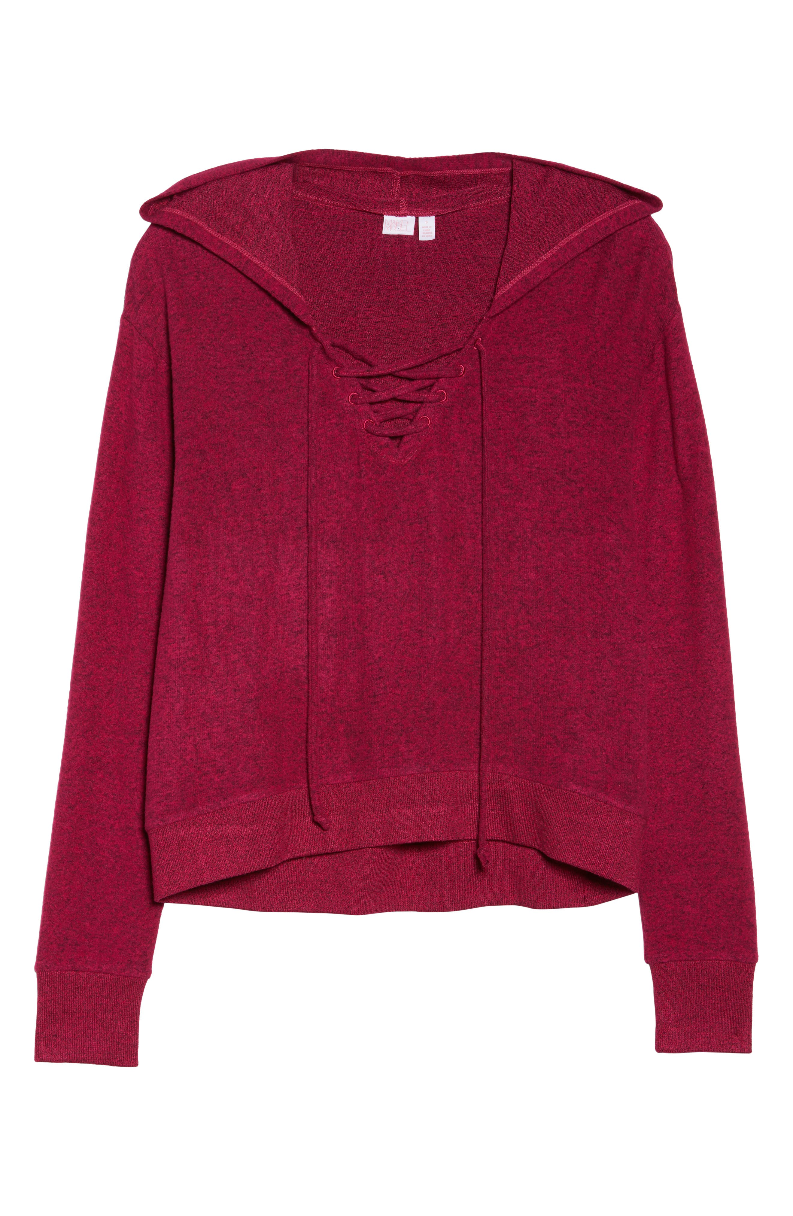Brushed Hacci Hoodie,                             Alternate thumbnail 7, color,                             Pink Vivacious Marl