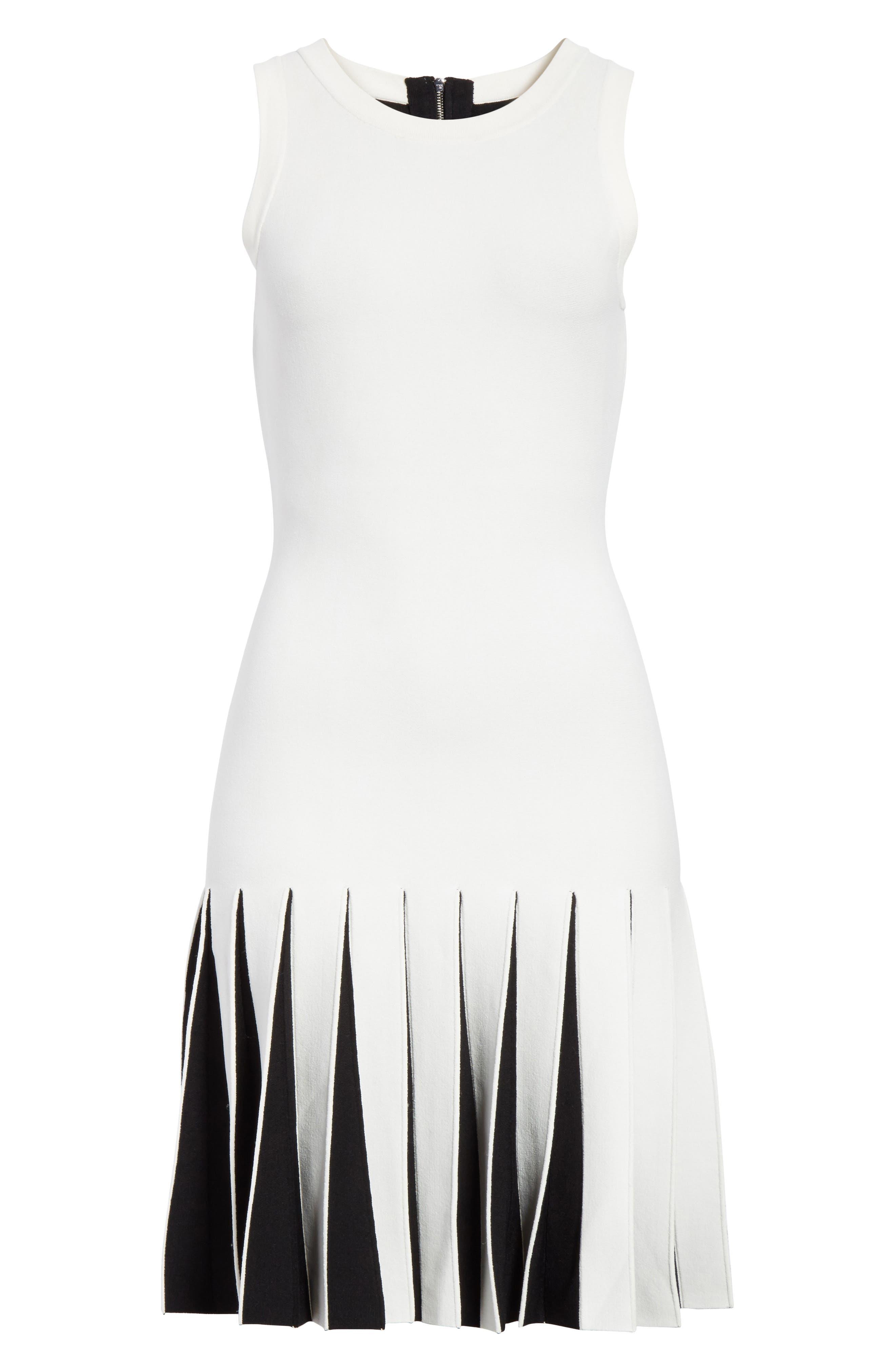 Pleated Contrast Drop Waist Dress,                             Alternate thumbnail 6, color,                             White/ Black