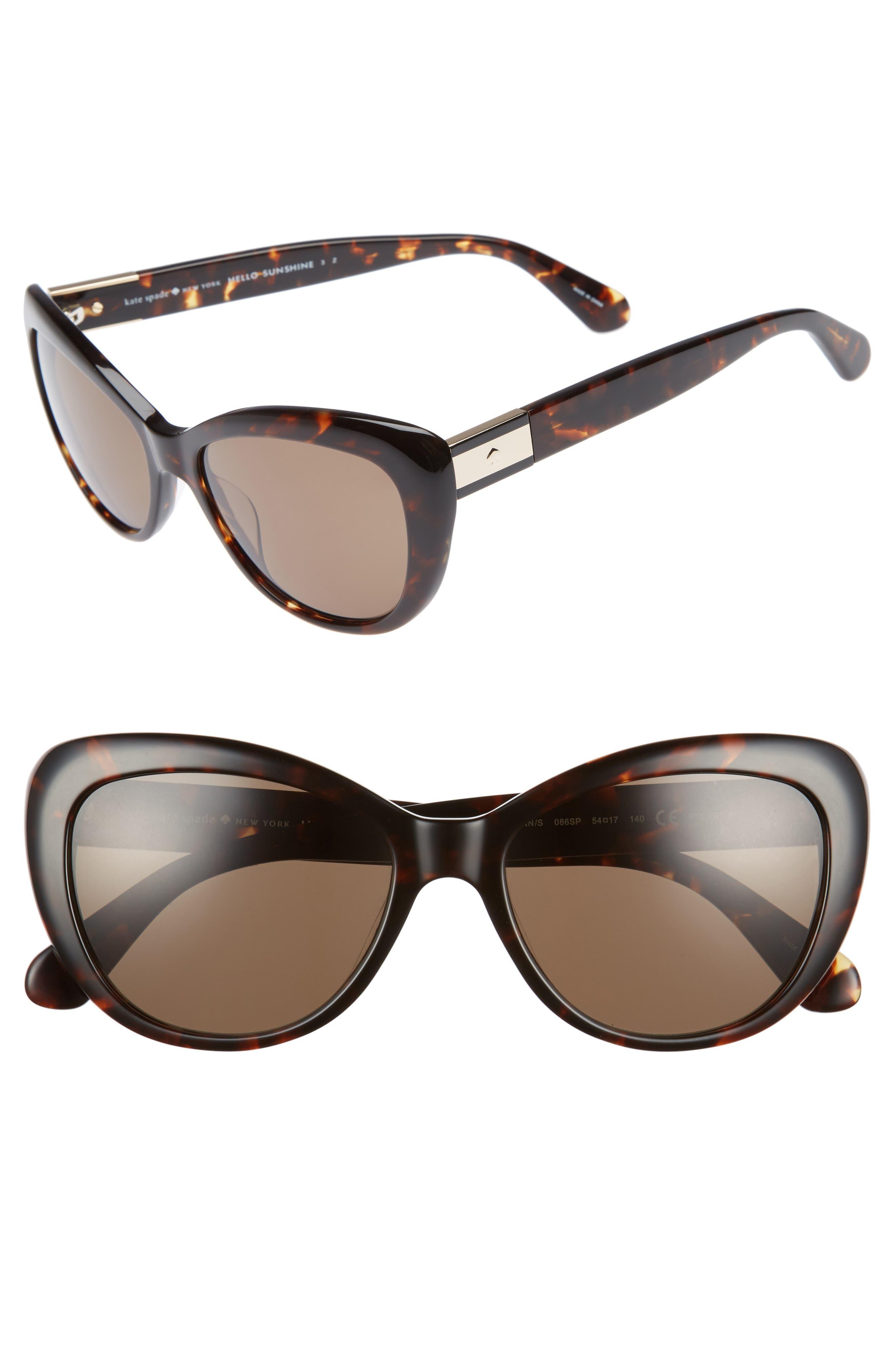 emmalynn 54mm polarized cat eye sunglasses,                         Main,                         color, Dark Havana