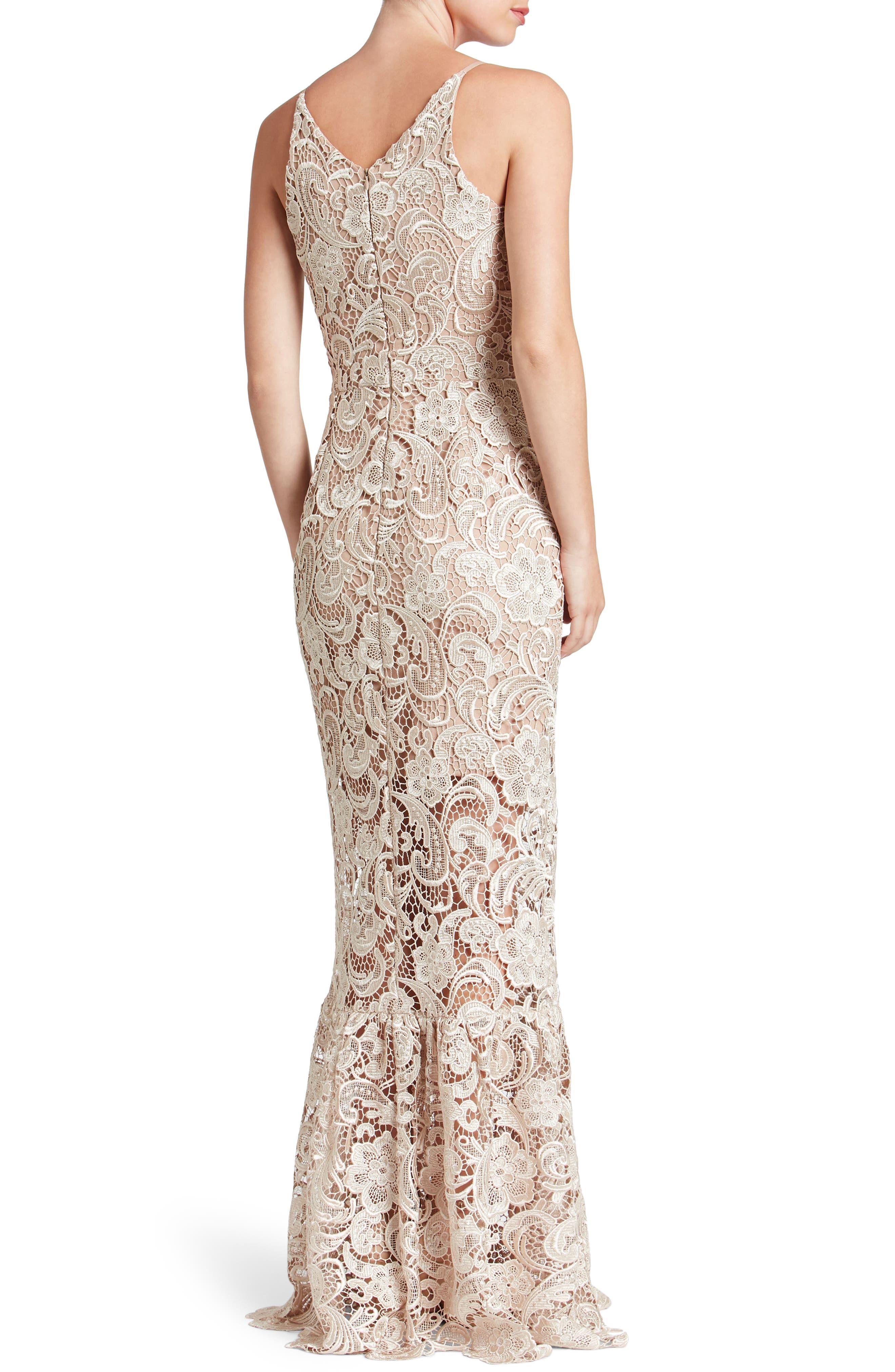 Alternate Image 2  - Dress the Population Sophia Crochet Lace Mermaid Gown