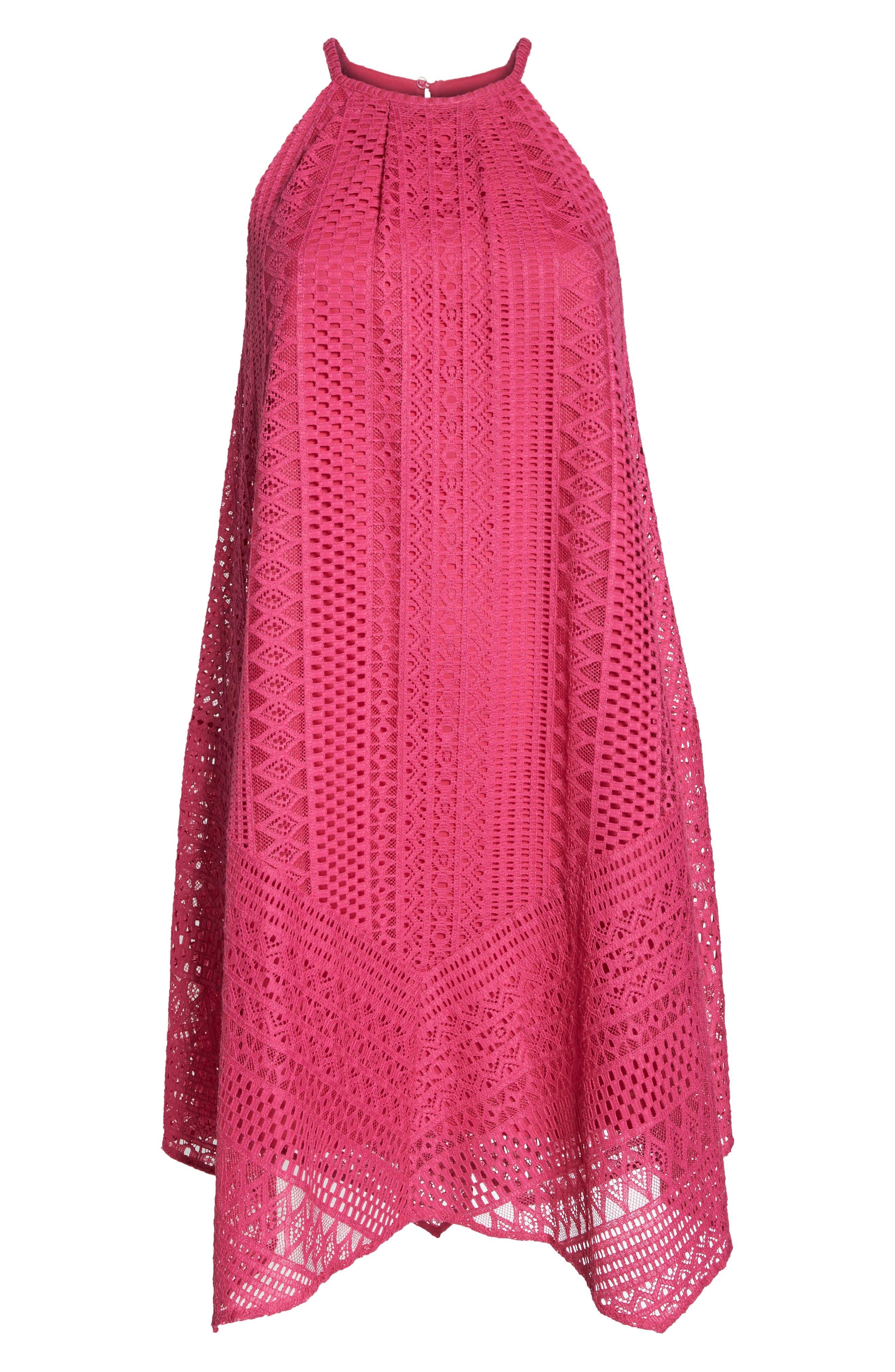 Geo Lace Trapeze Dress,                             Alternate thumbnail 6, color,                             Pink