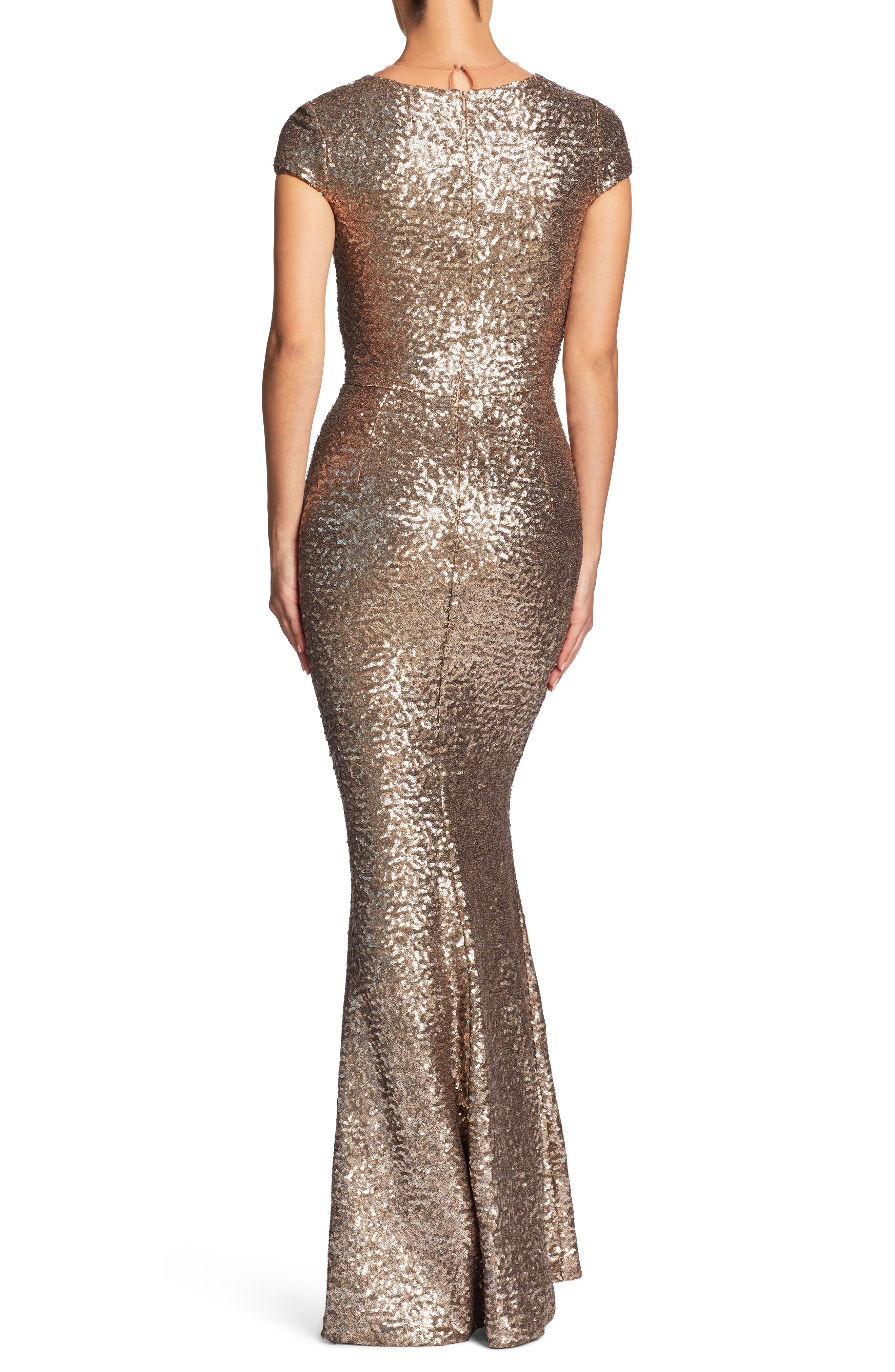 Michelle Sequin Gown,                             Alternate thumbnail 3, color,                             Brass
