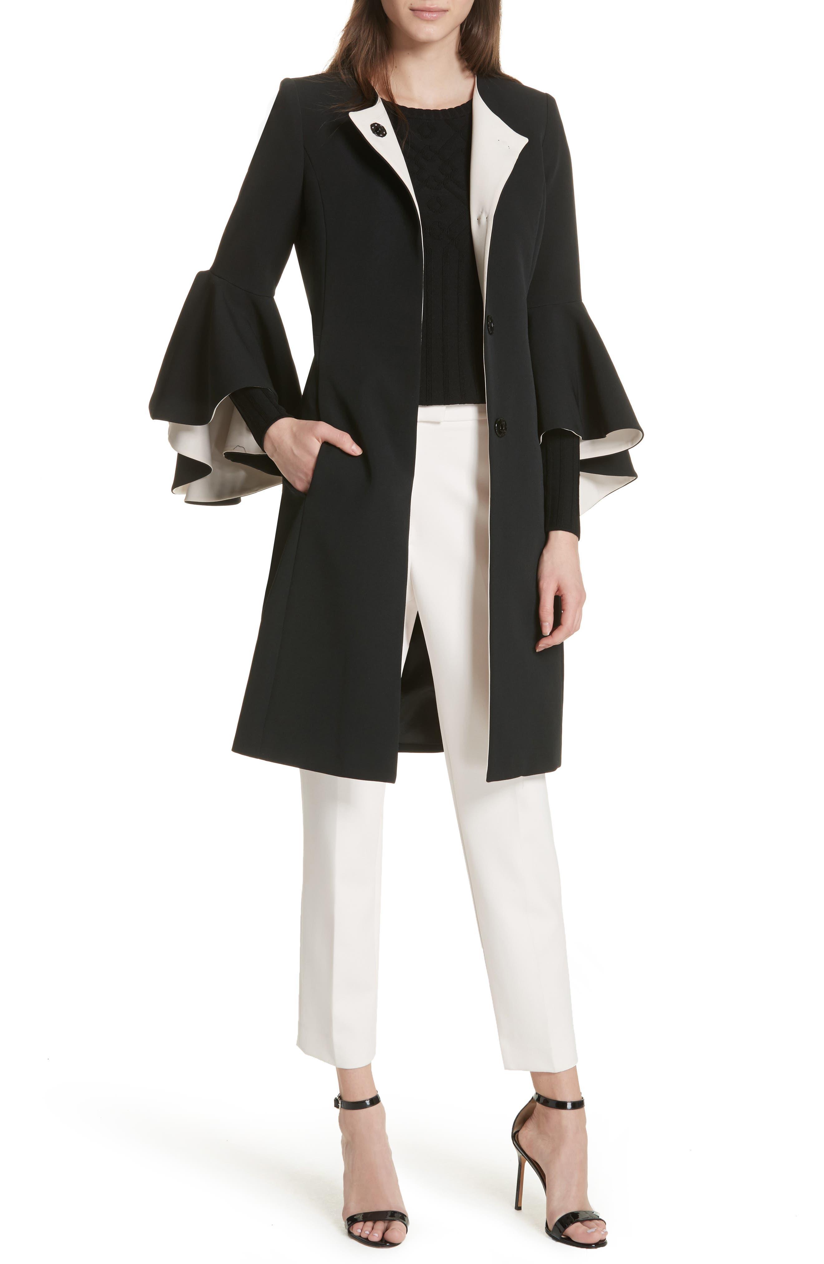 Selena Ruffle Sleeve Coat,                             Alternate thumbnail 5, color,                             Black/ Cream