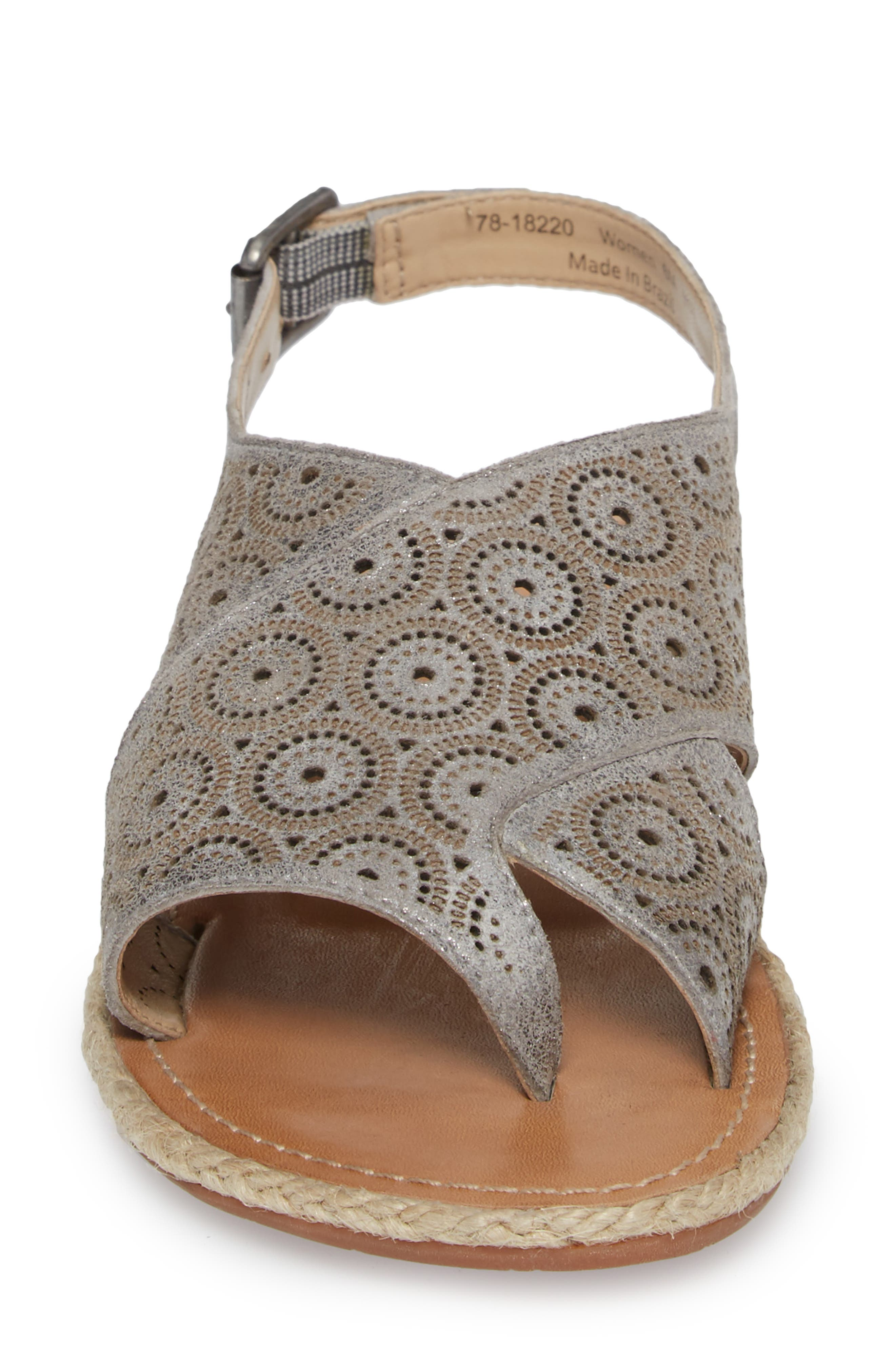 Willow Flat Sandal,                             Alternate thumbnail 4, color,                             Pewter Leather