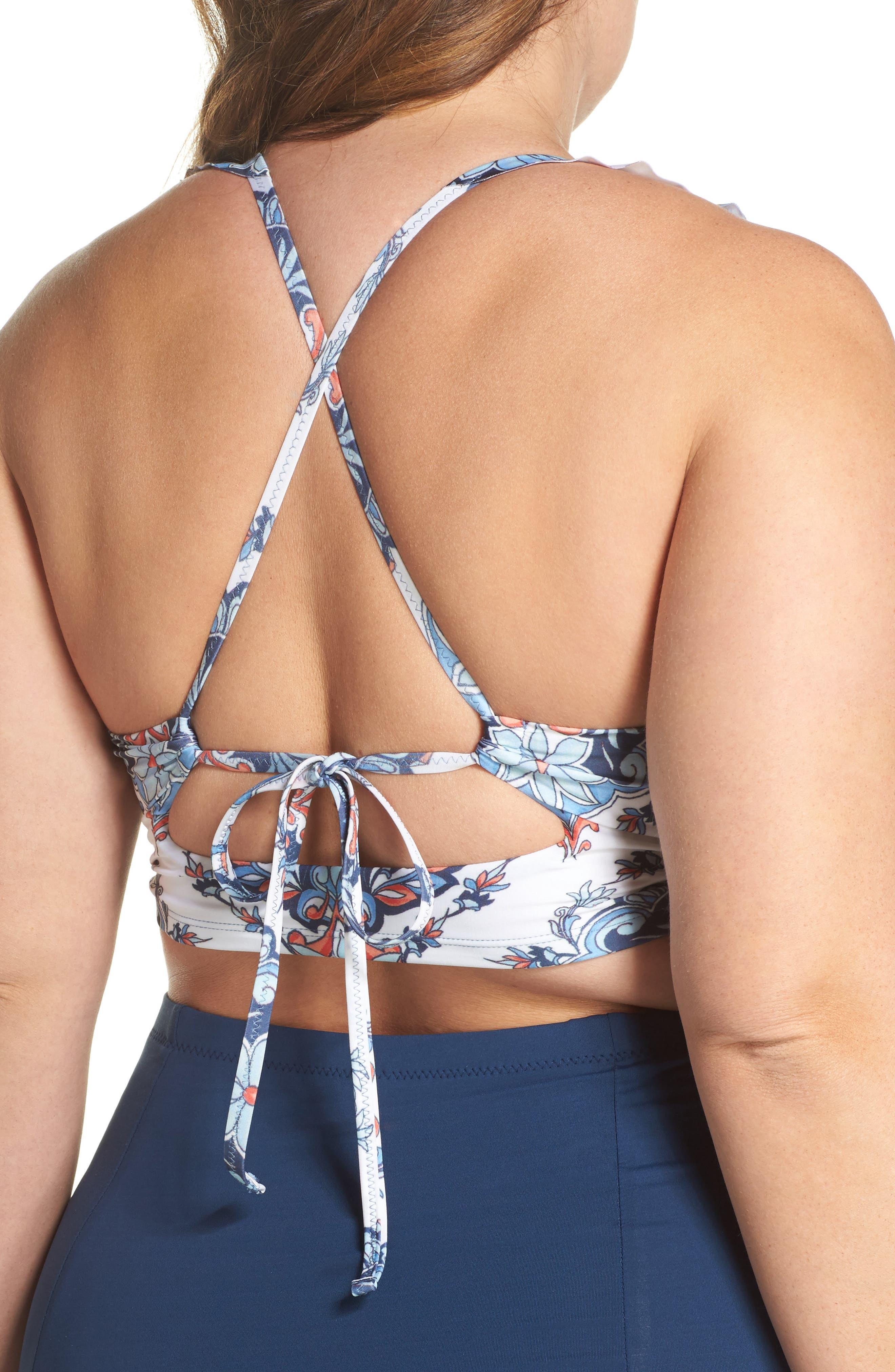 Naples Ruffle Bikini Top,                             Alternate thumbnail 2, color,                             Navy Multi