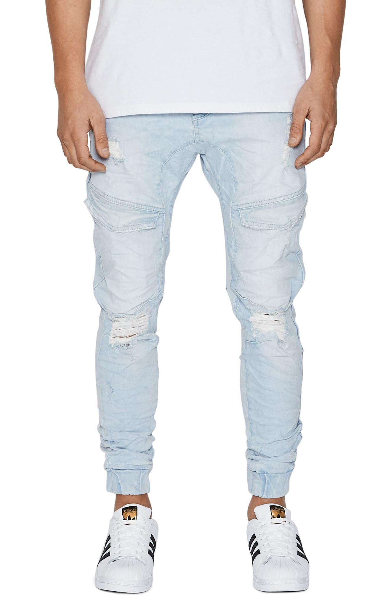 Flight Skinny Denim Jogger Pants,                         Main,                         color, Bleach White