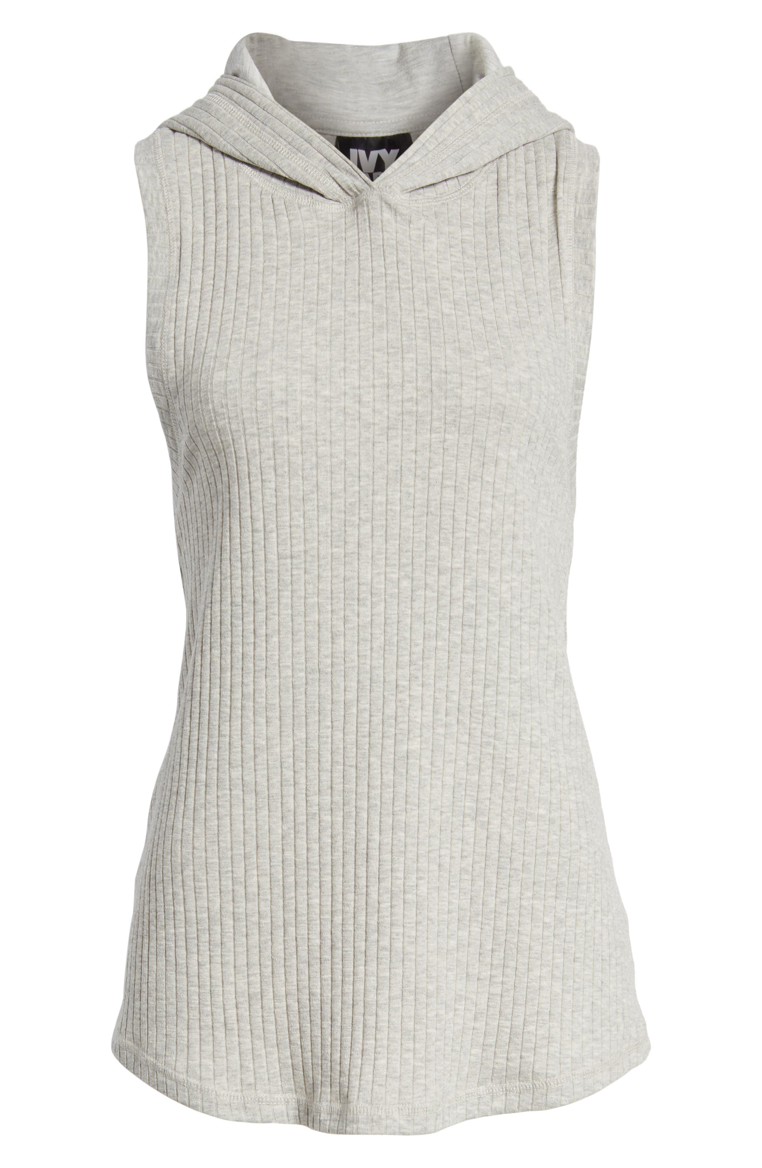 Hooded Rib Knit Tank,                             Alternate thumbnail 7, color,                             Grey Marl