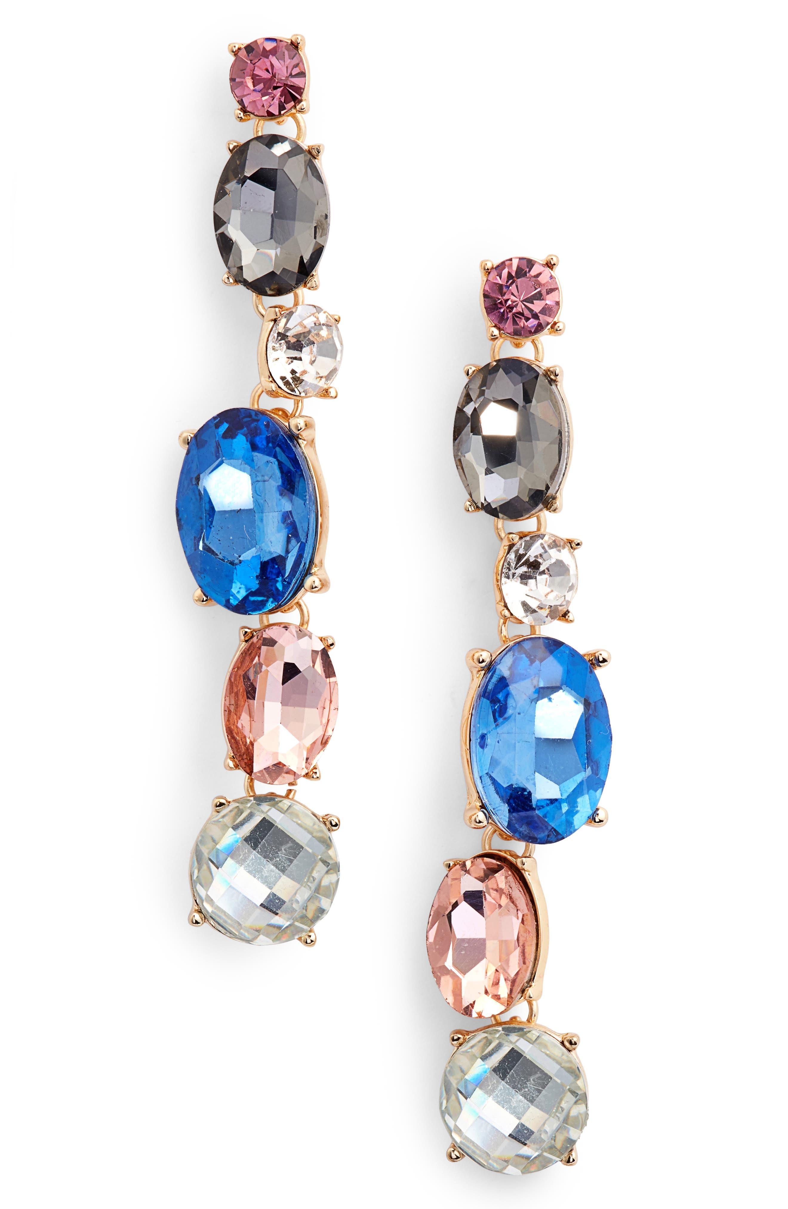 Crystal Linear Earrings,                         Main,                         color, Multi