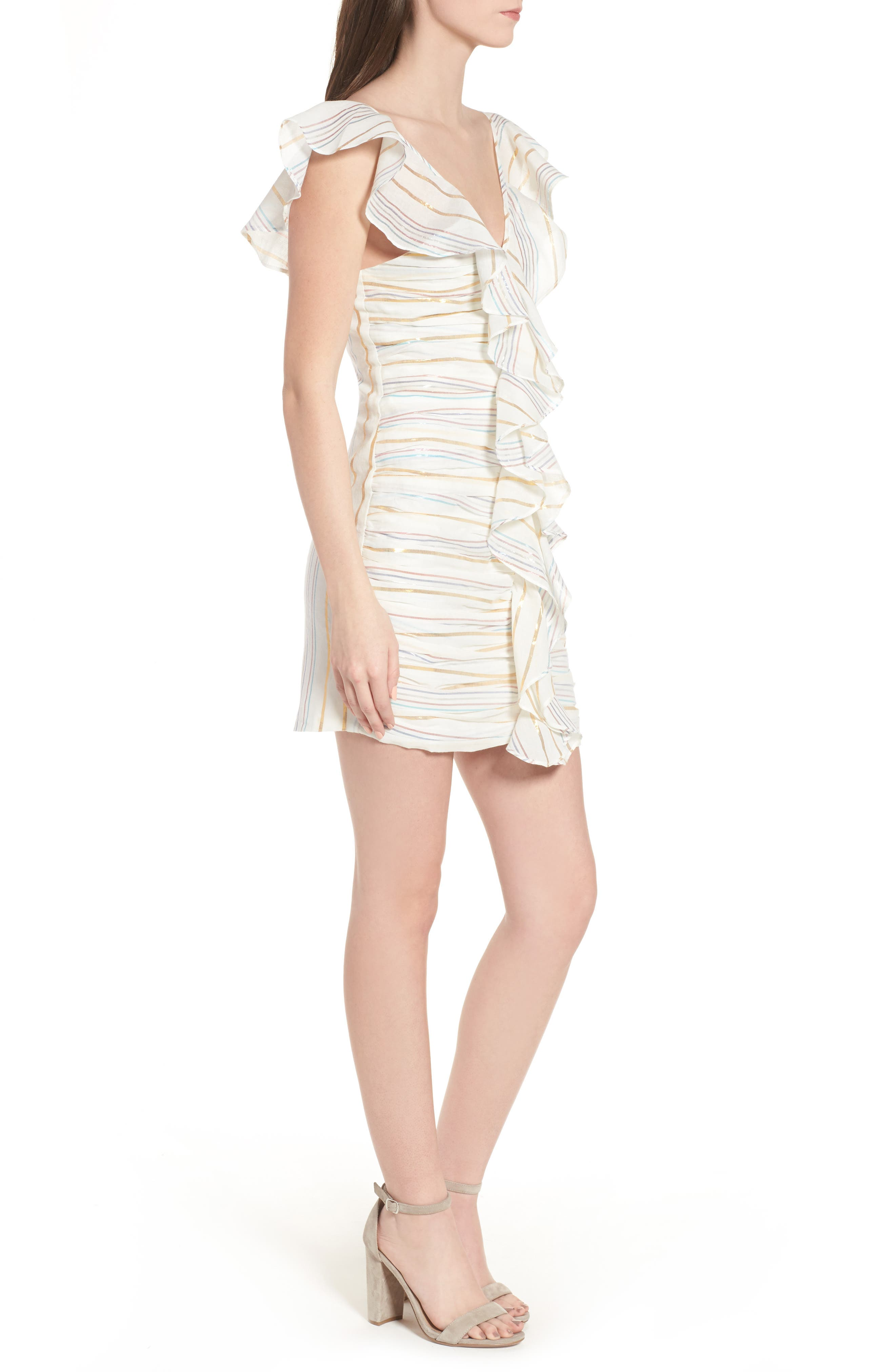 Brittany Ruffle Dress,                             Alternate thumbnail 3, color,                             Marshmallow