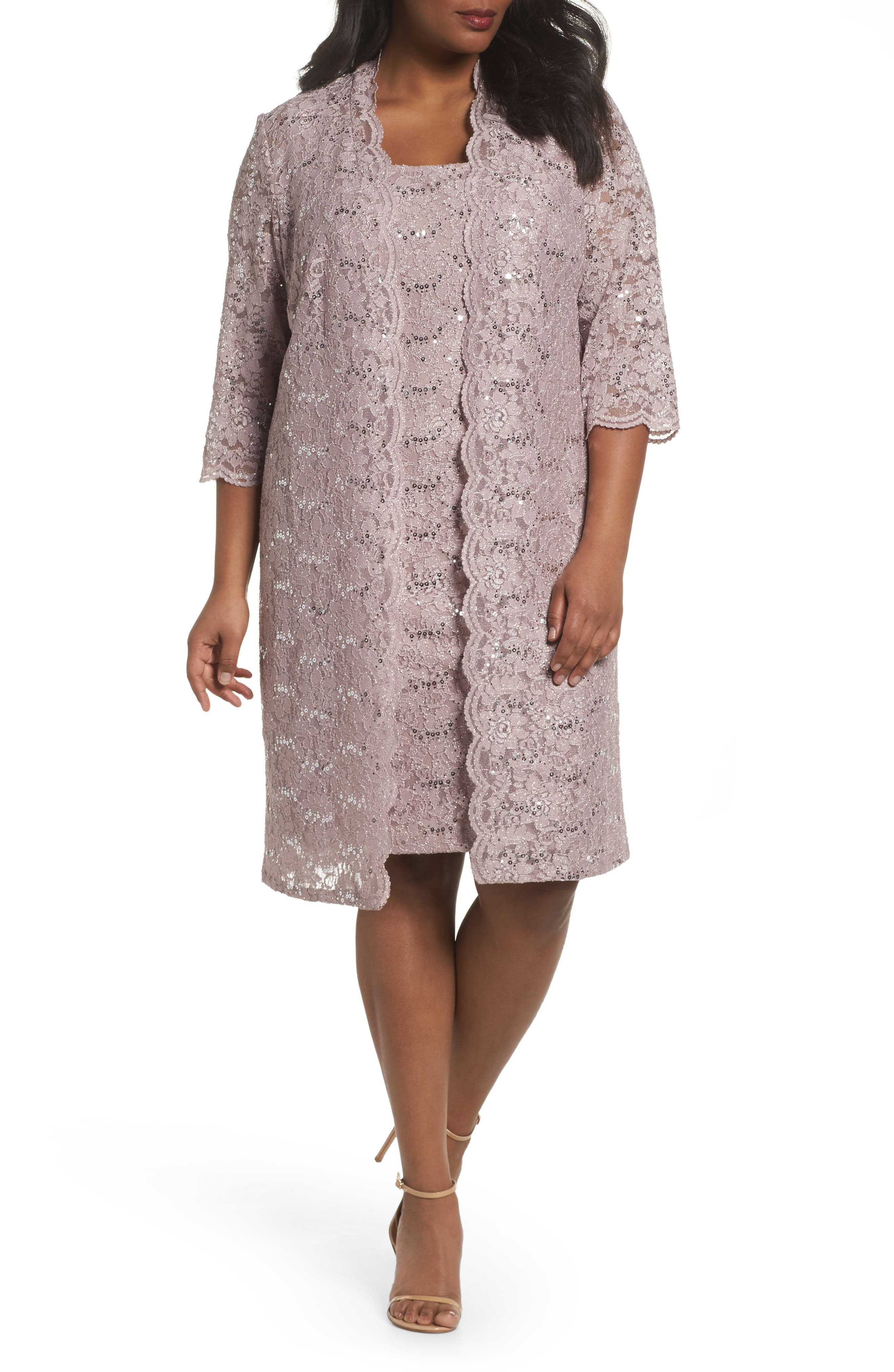 Sequin Lace Sheath Dress with Jacket,                         Main,                         color, Pure Rose