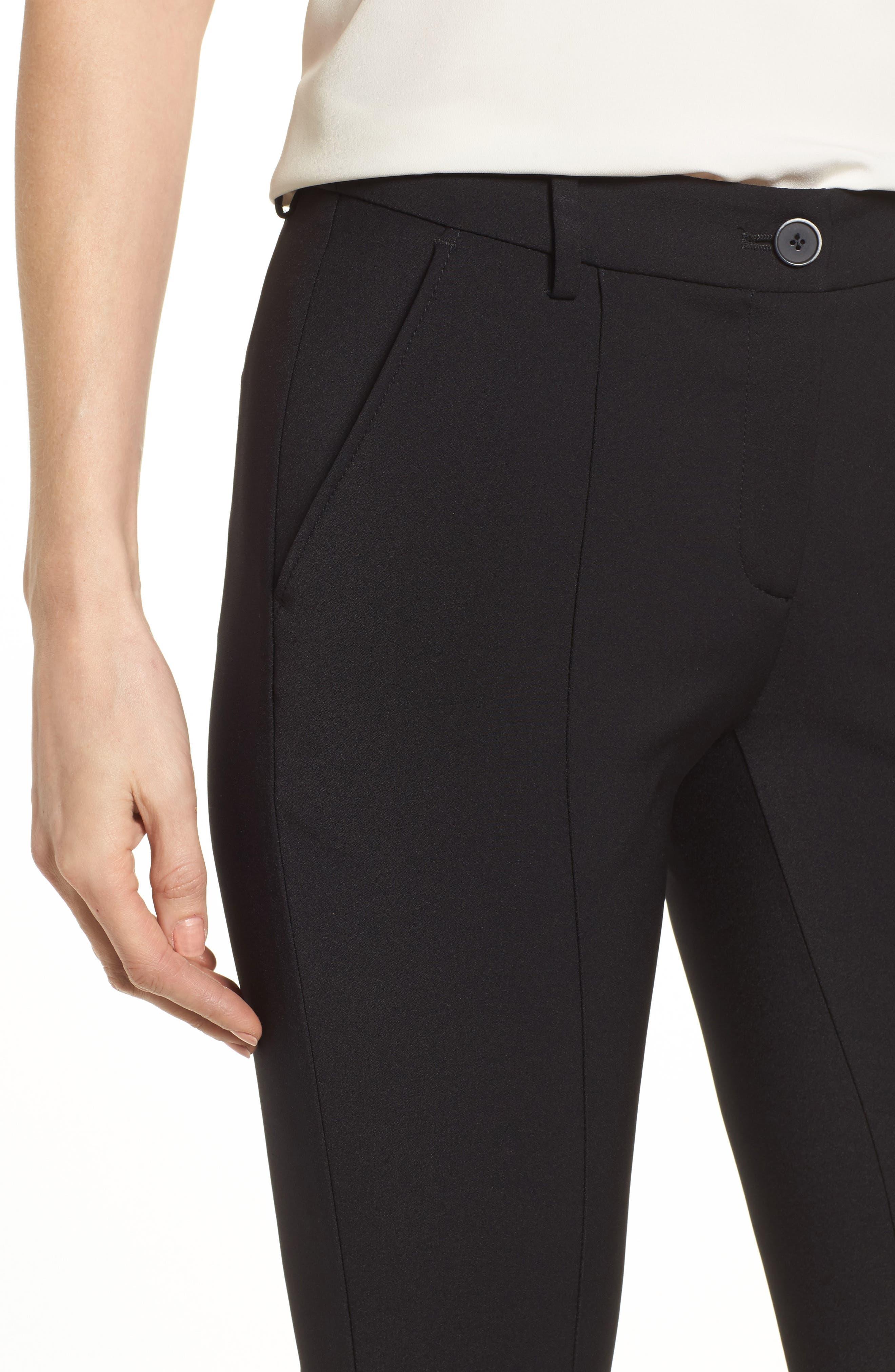 Maron Straight Leg Seamed Pants,                             Alternate thumbnail 4, color,                             Black