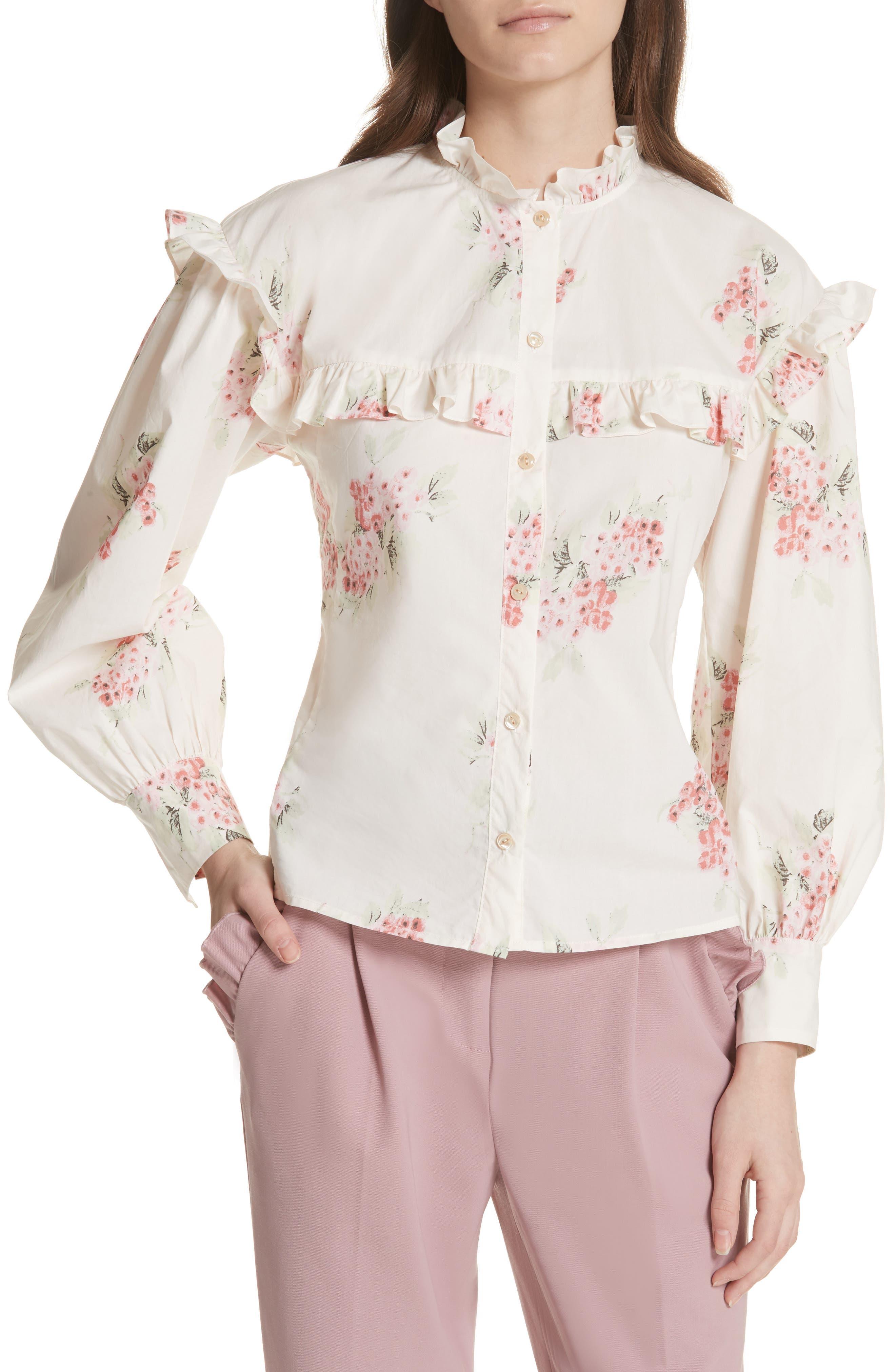 Maia Ruffled Floral Top,                         Main,                         color, Vanilla Combo