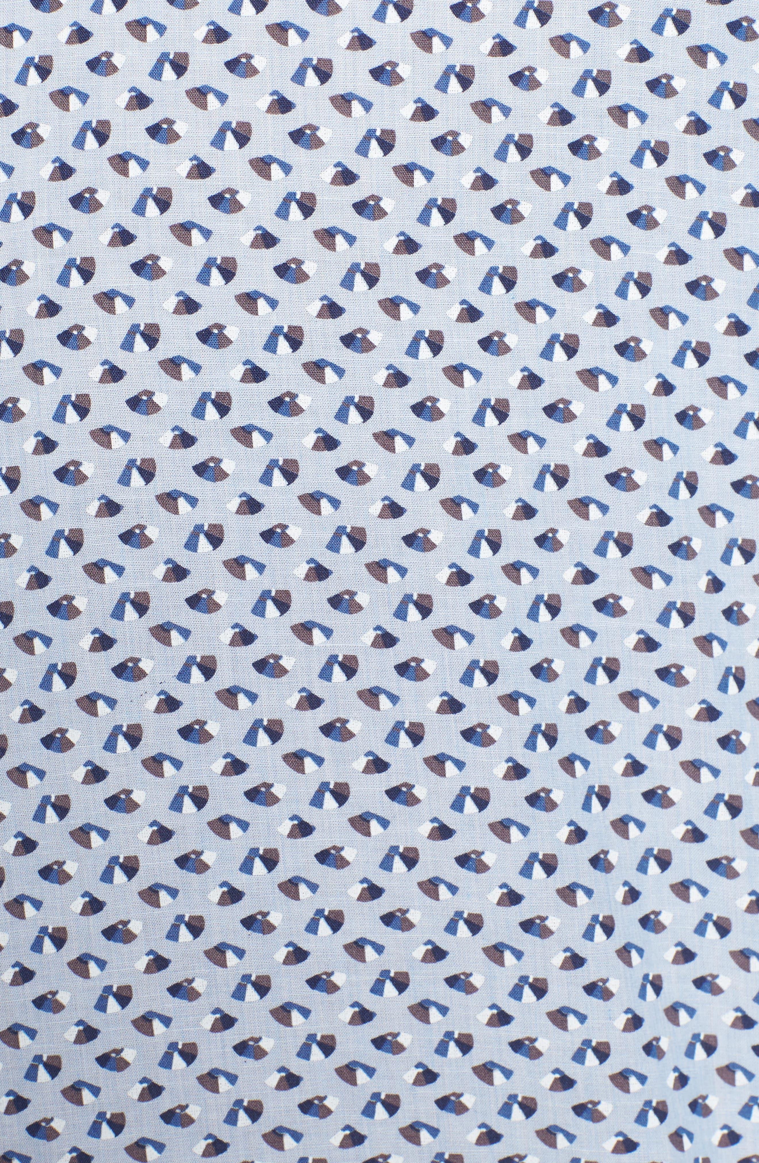Slim Fit Print Cotton & Linen Sport Shirt,                             Alternate thumbnail 5, color,                             Blue
