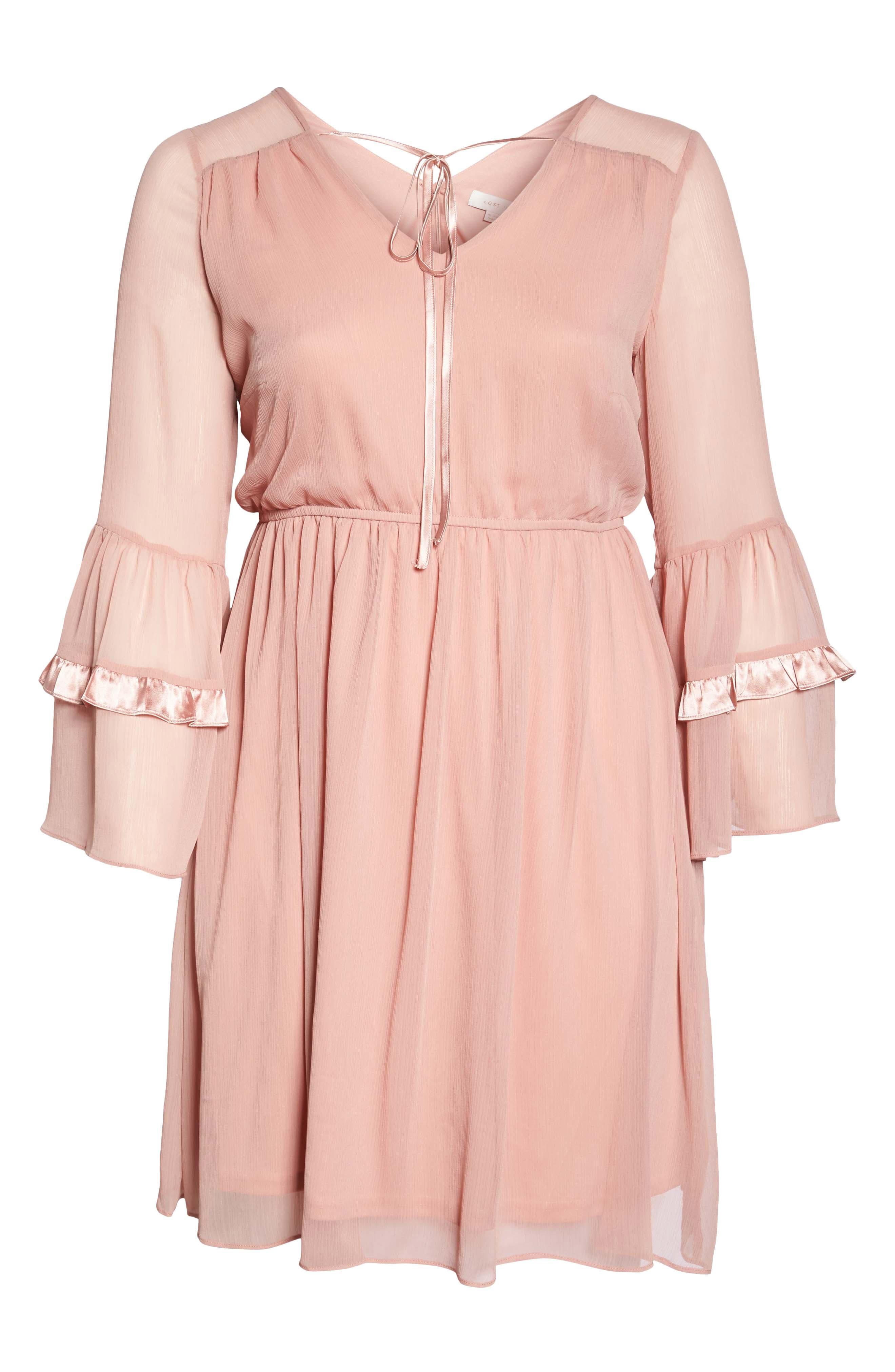 Satin Trim Crinkle Dress,                             Alternate thumbnail 6, color,                             Blush