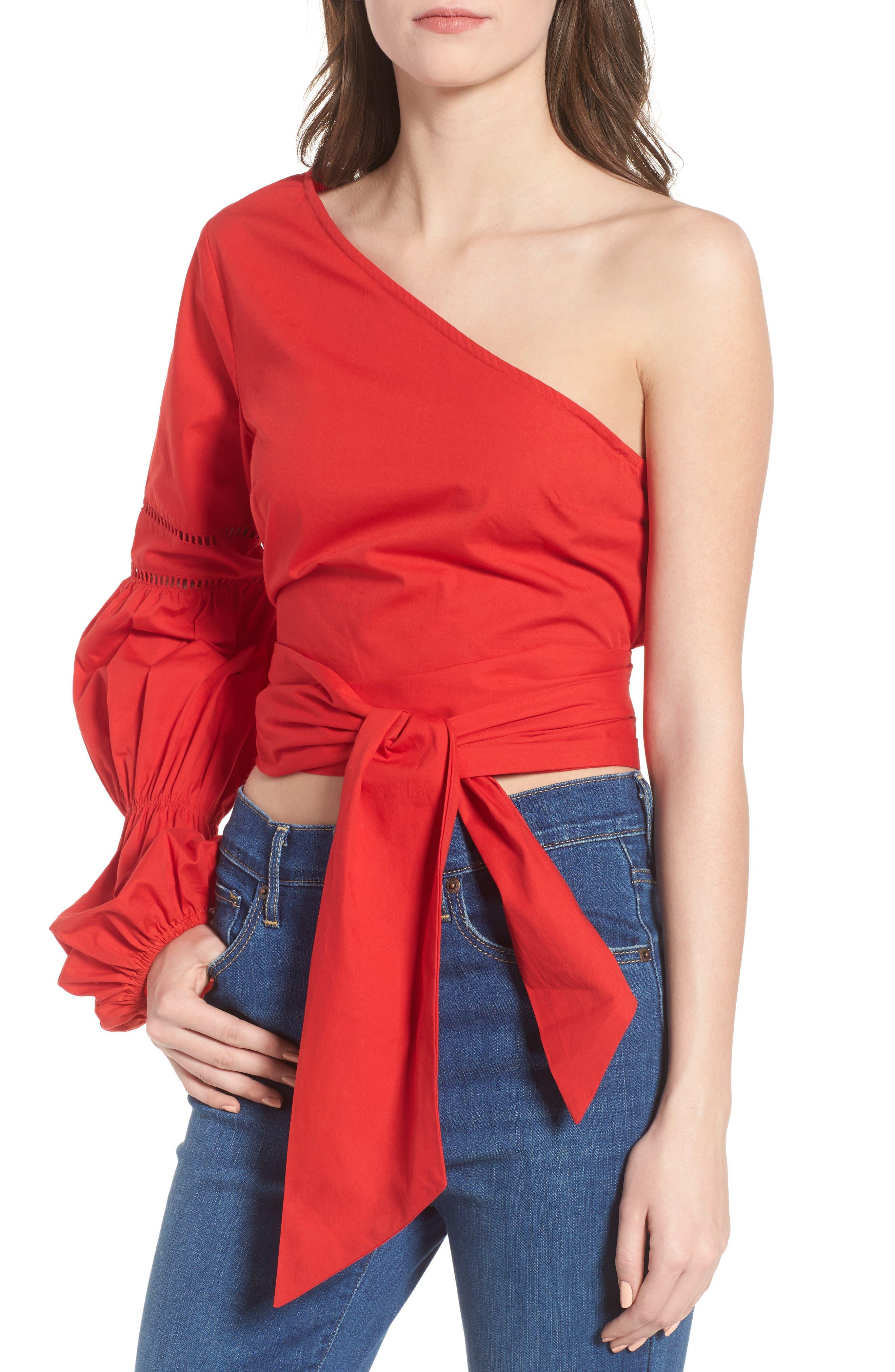 Lola One-Shoulder Blouse,                         Main,                         color, Poppy
