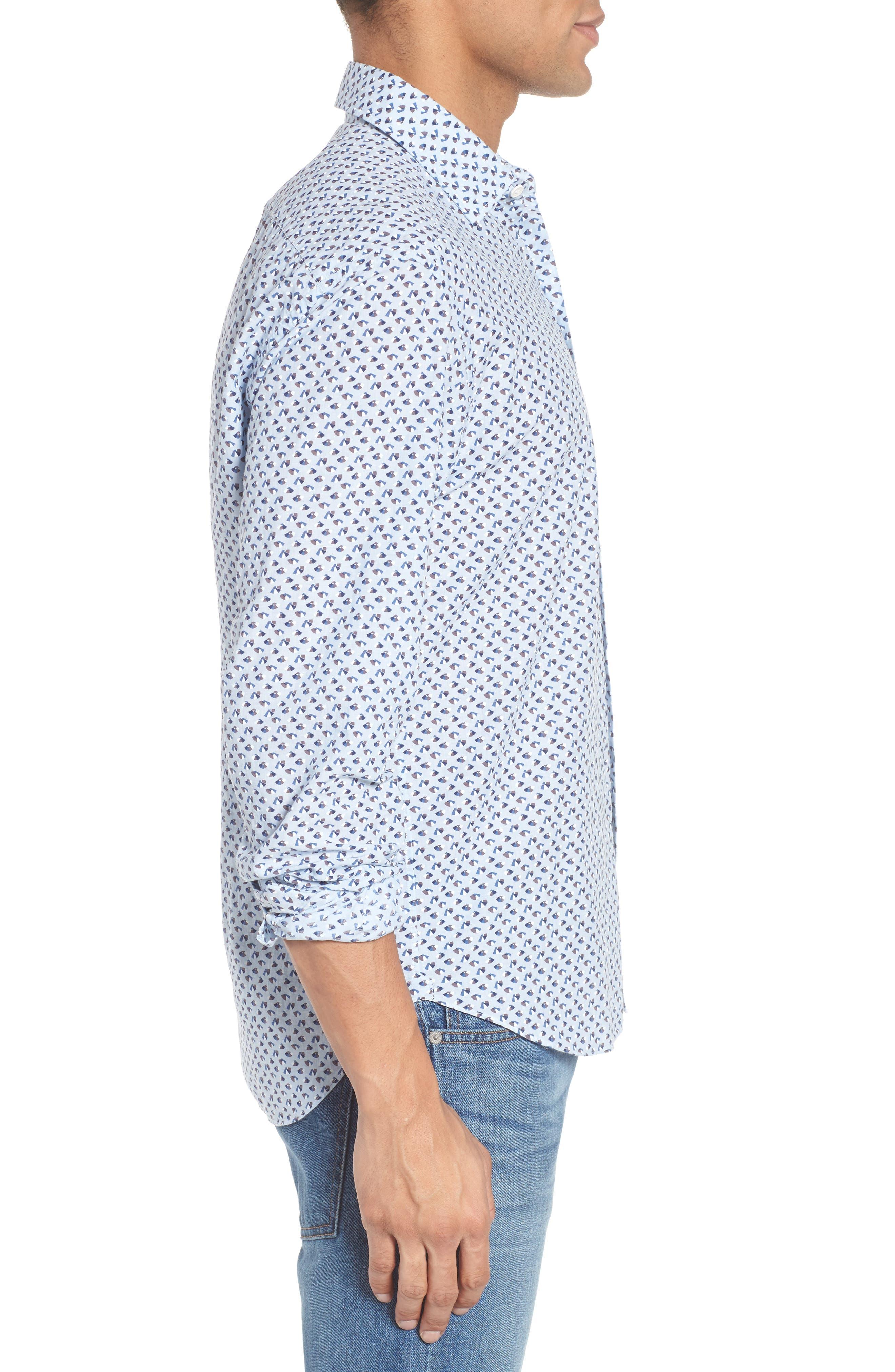Slim Fit Print Cotton & Linen Sport Shirt,                             Alternate thumbnail 3, color,                             Blue