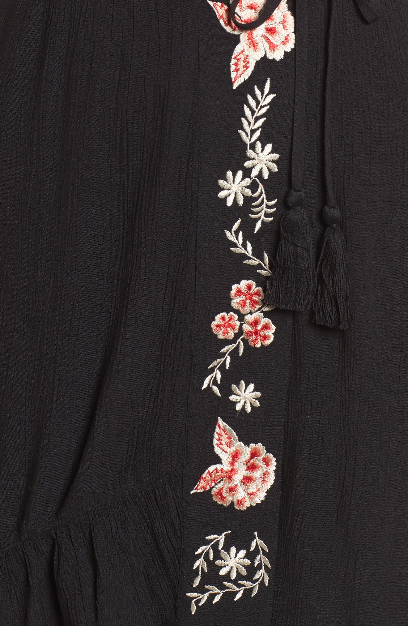 Floral Embroidered Faux Wrap Dress,                             Alternate thumbnail 5, color,                             Black/ Red