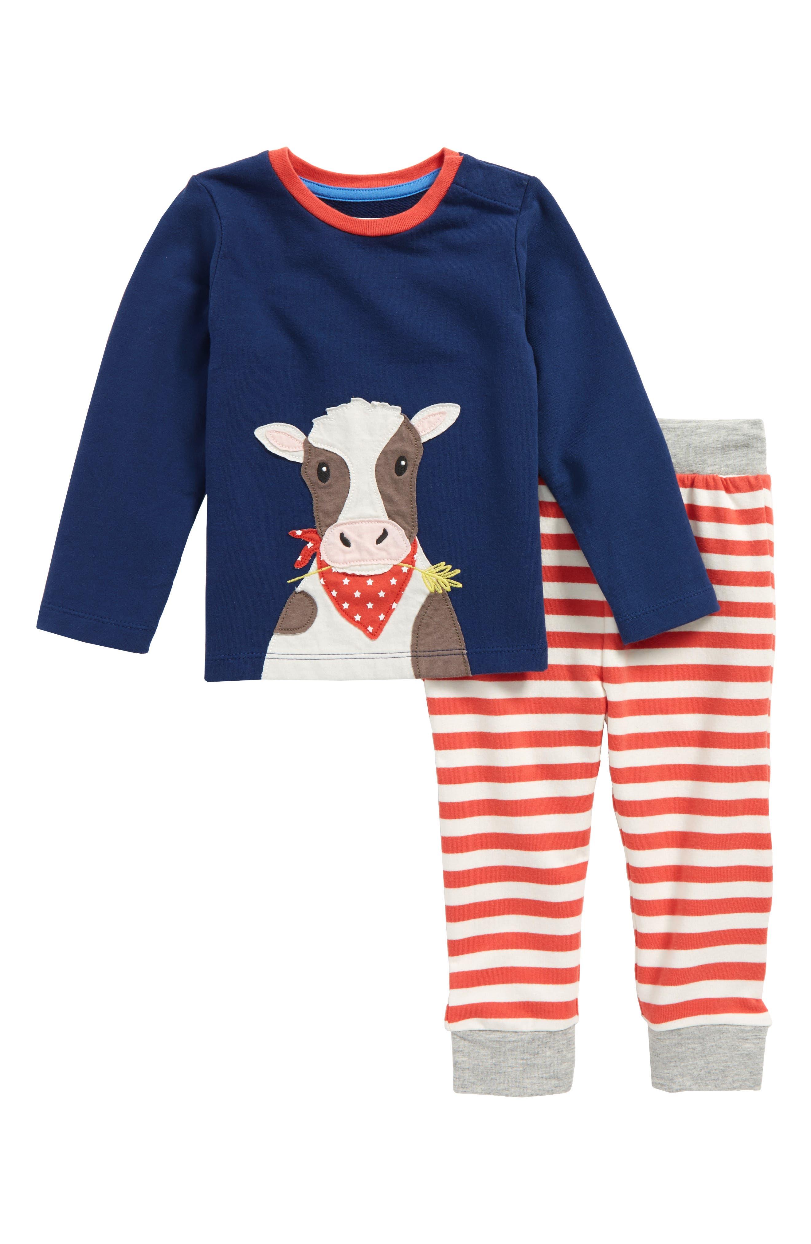 Appliqué T-Shirt & Pants Set,                             Main thumbnail 1, color,                             Beacon Blue Cow