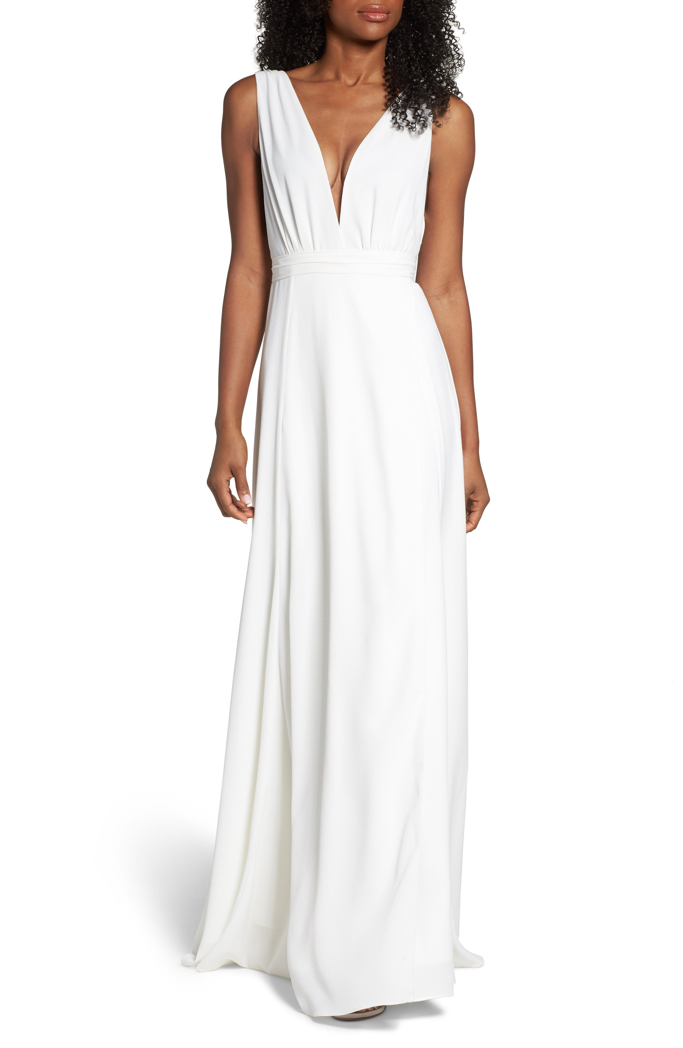 Plunging Wrap Dress,                             Main thumbnail 1, color,                             White