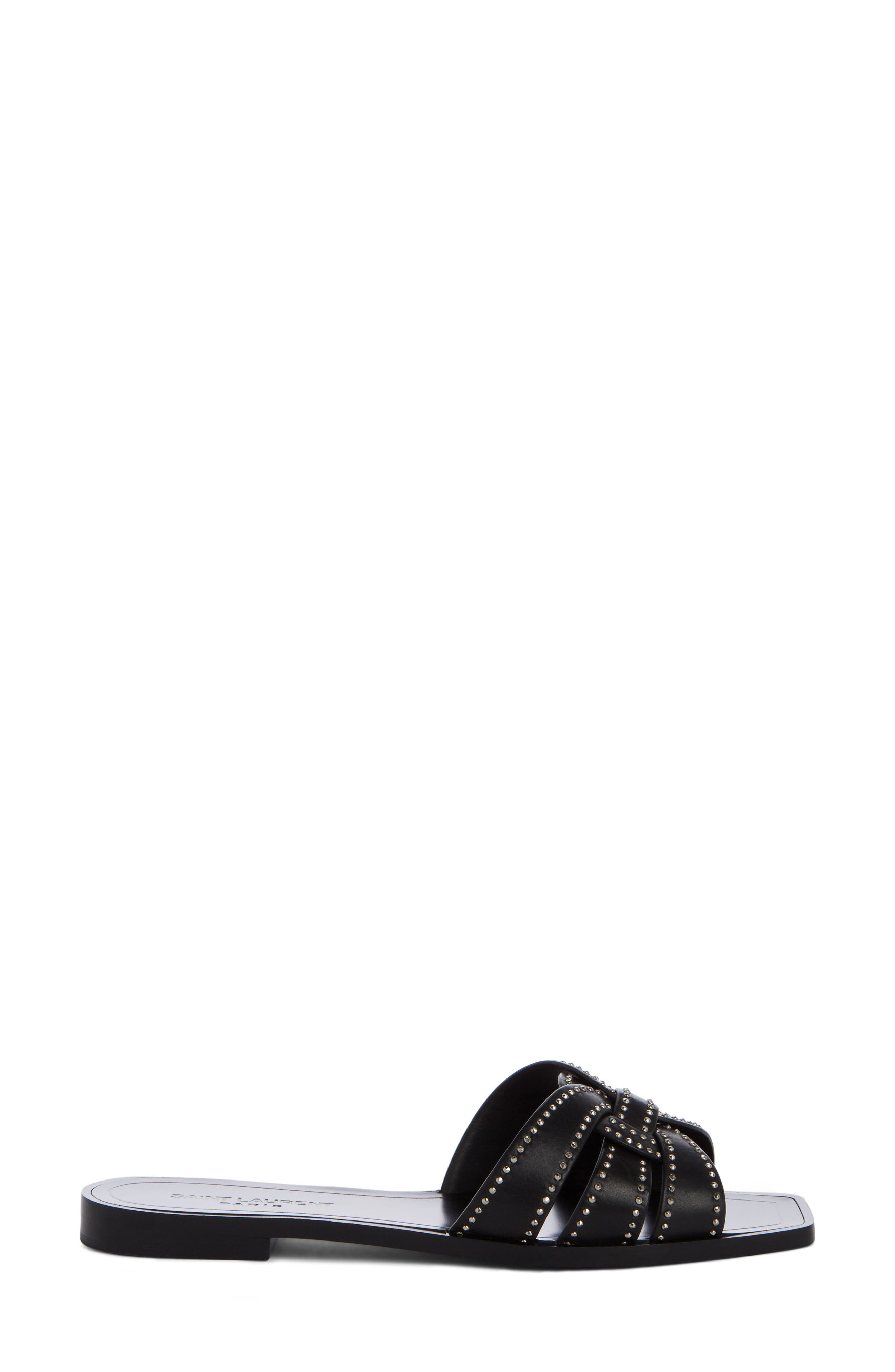 Nu Pieds Studded Slide Sandal,                             Alternate thumbnail 3, color,                             Black