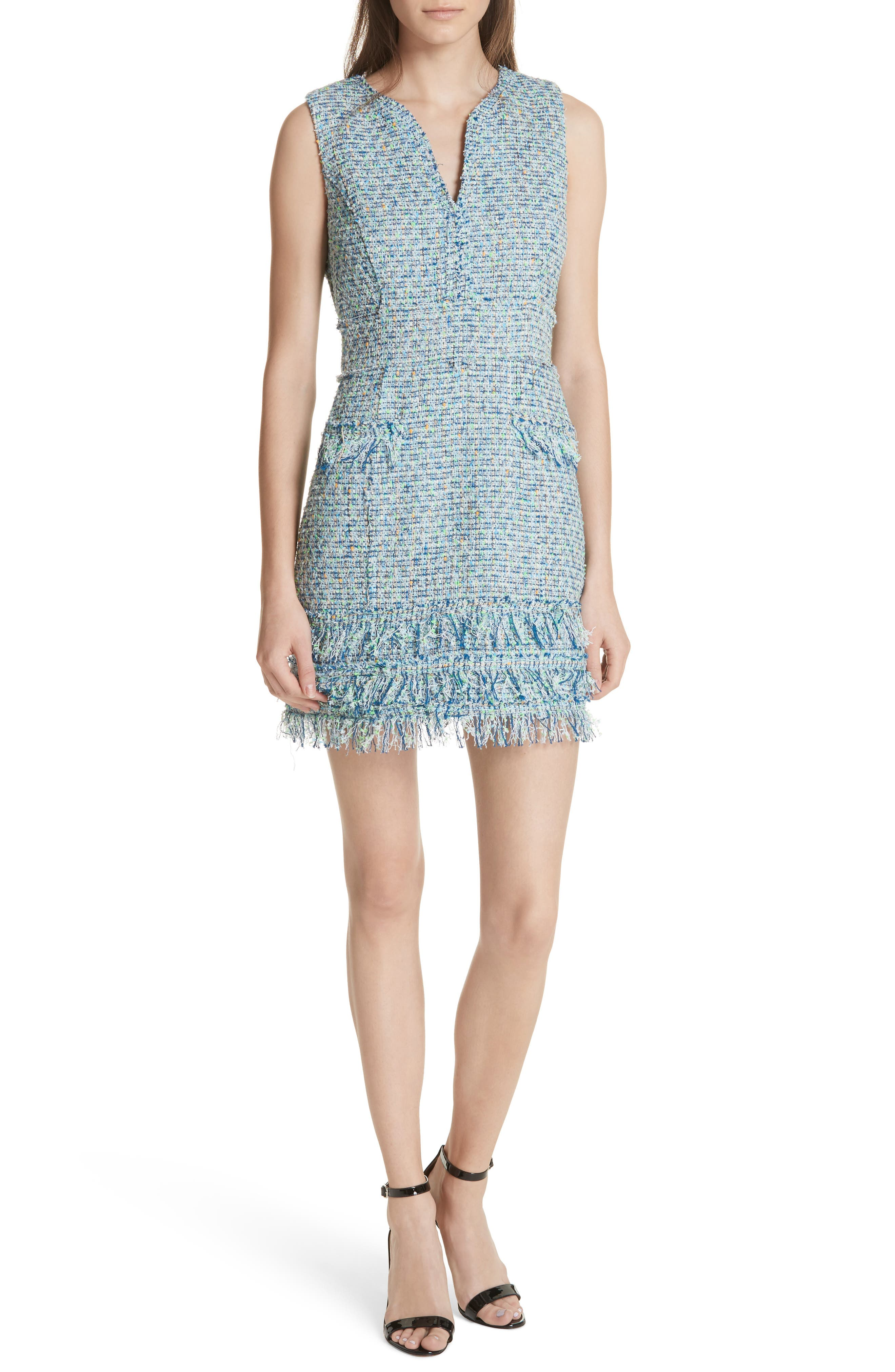 Tweed Sleeveless A-Line Dress,                             Main thumbnail 1, color,                             Blue