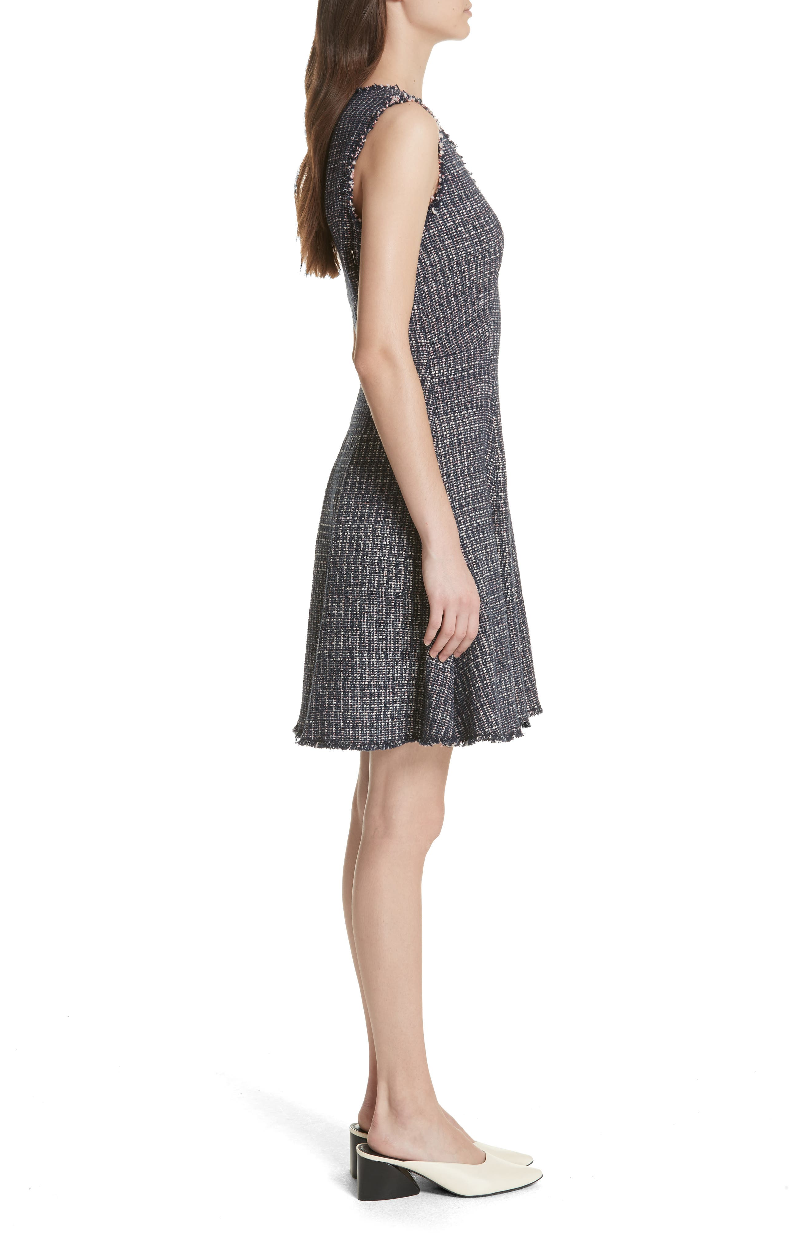 Multi Tweed Fit & Flare Dress,                             Alternate thumbnail 3, color,                             Navy Combo