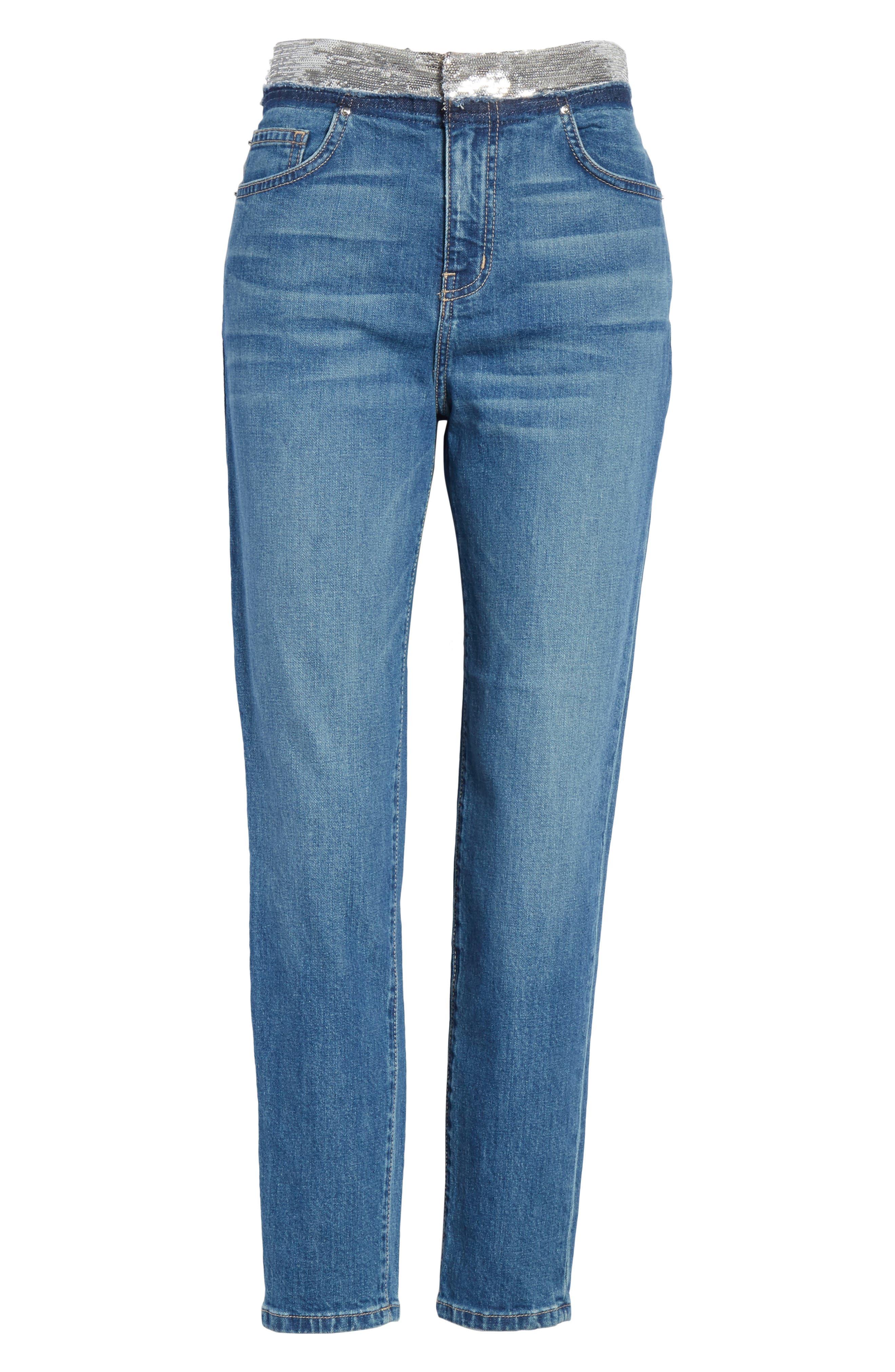 Jones Crop Jeans,                             Alternate thumbnail 6, color,                             Stone Blue