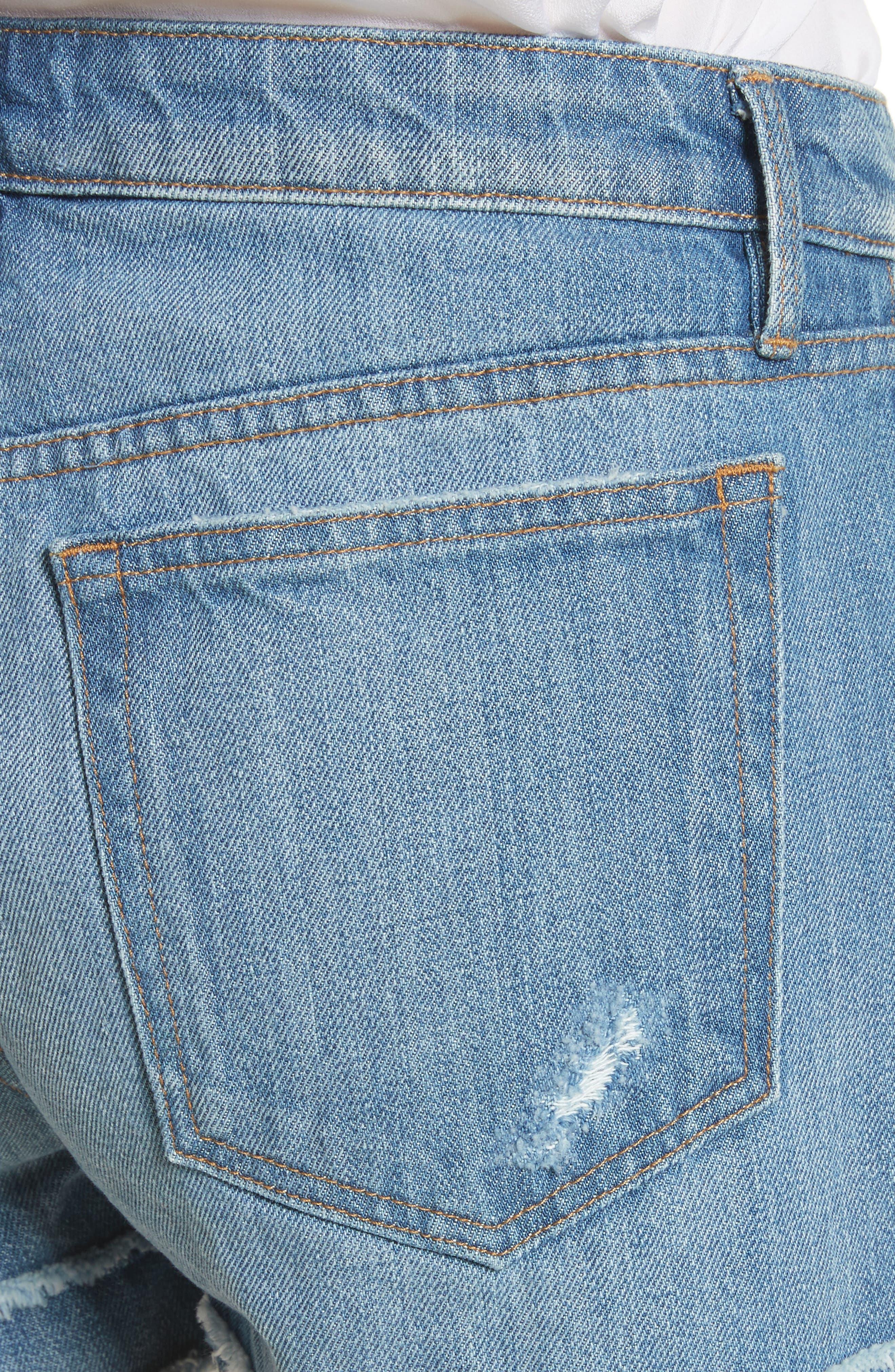 Le Grand Garçon Fray Cuff Denim Shorts,                             Alternate thumbnail 4, color,                             Heston