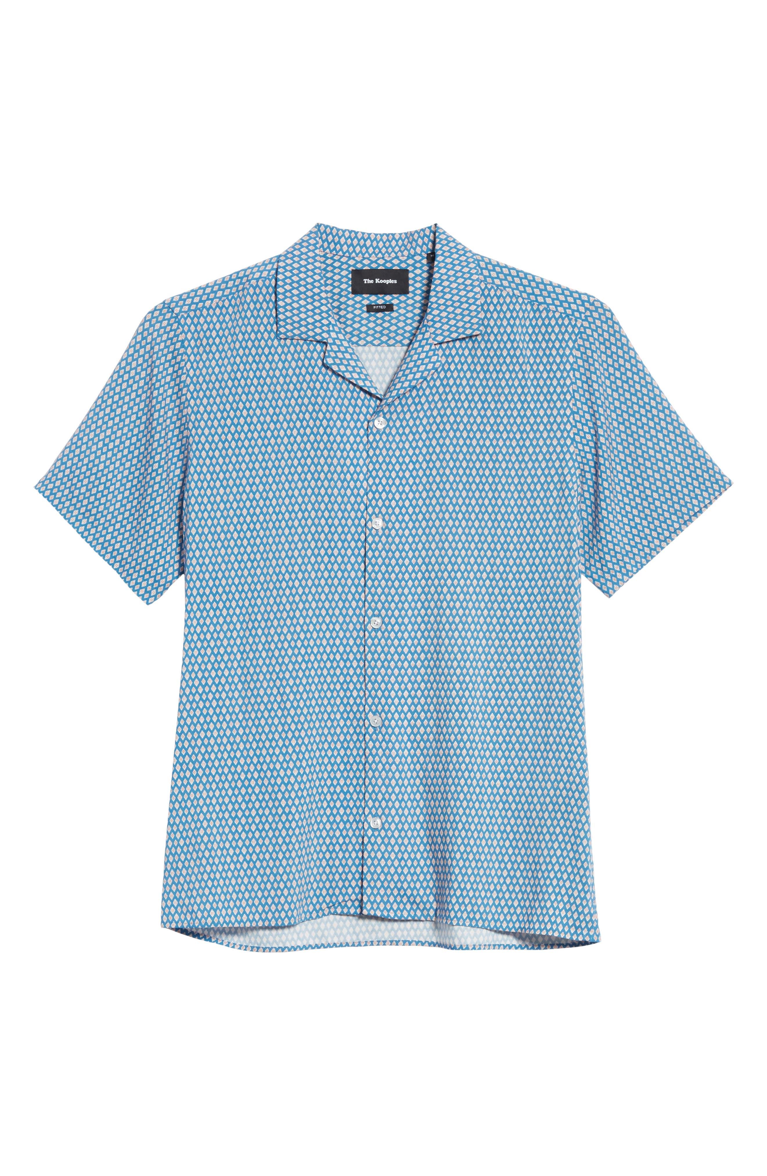 Diamond Print Camp Shirt,                             Alternate thumbnail 6, color,                             Blu 36