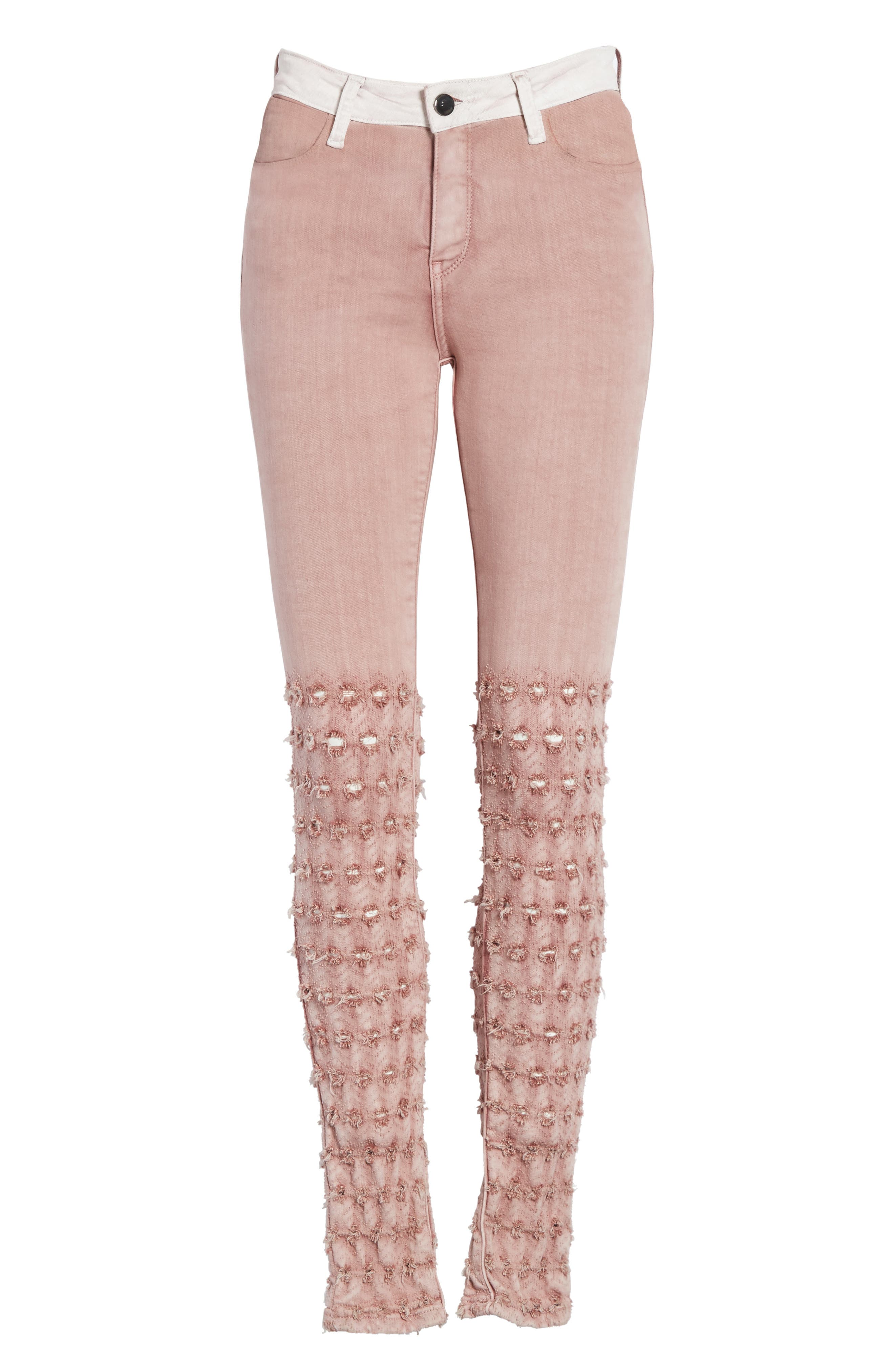 Emma Embroidered Skinny Jeans,                             Alternate thumbnail 6, color,                             Rose