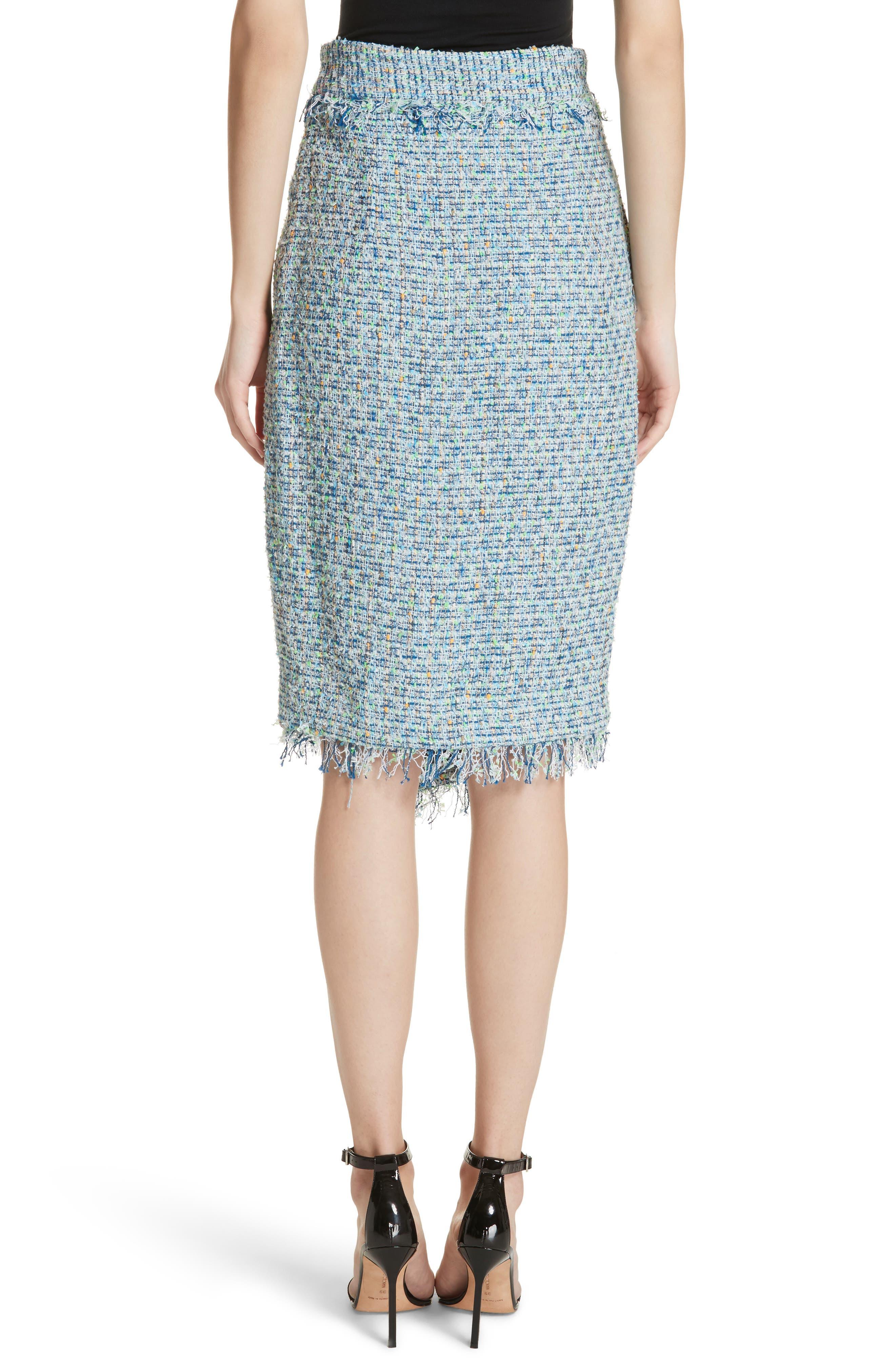 Tweed Wrap Skirt,                             Alternate thumbnail 2, color,                             Blue