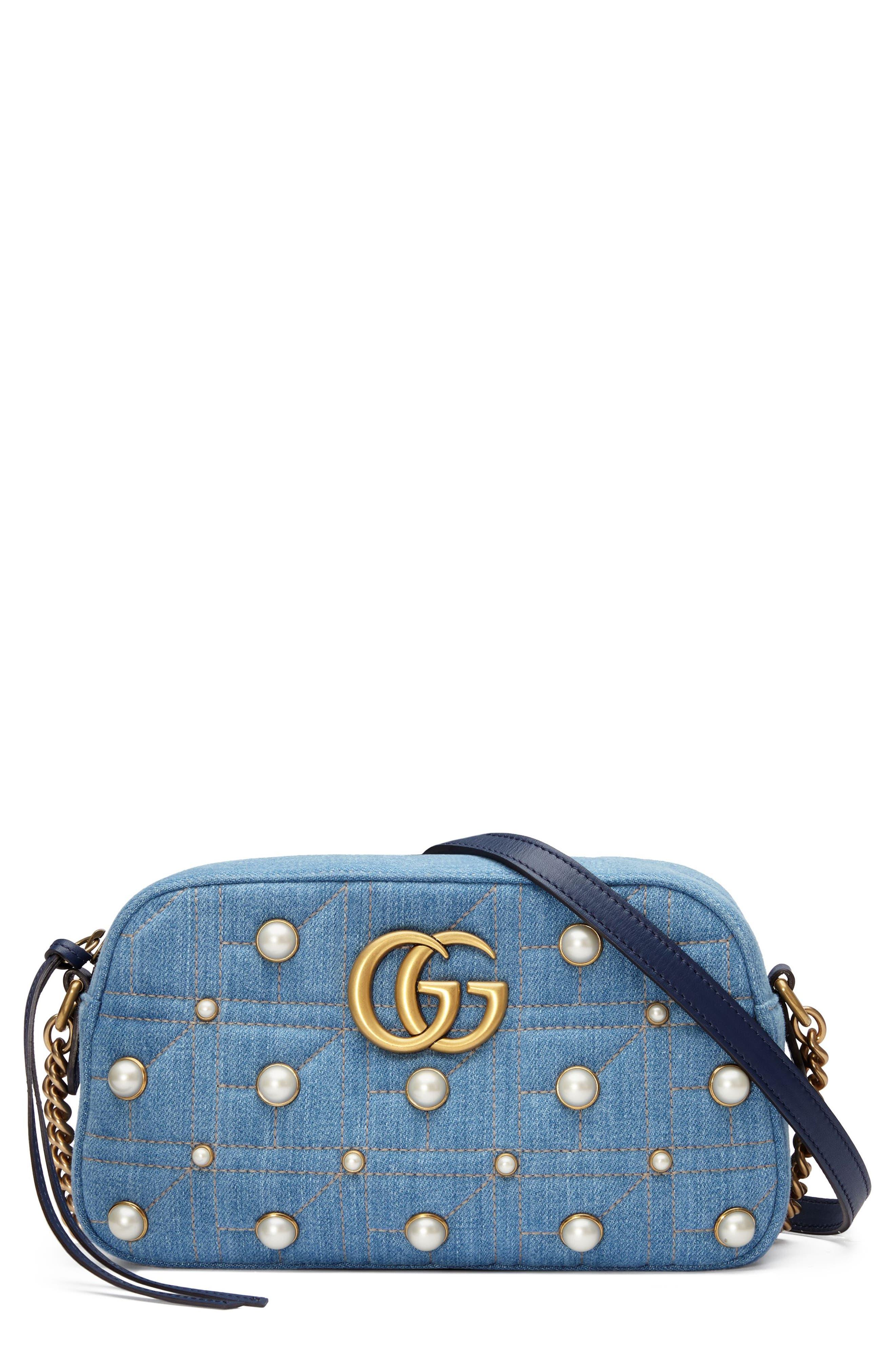 Gucci Marmont 2.0 Imitation Pearl Embellished Denim Camera Bag