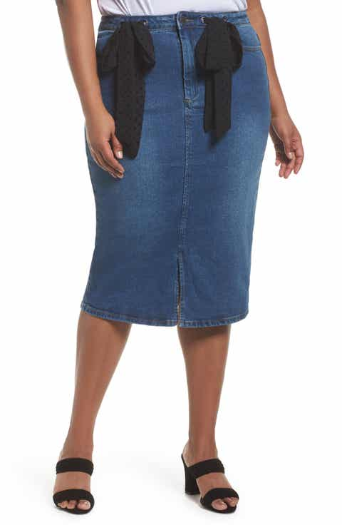 LOST INK Denim Pencil Skirt with Dobby Ties