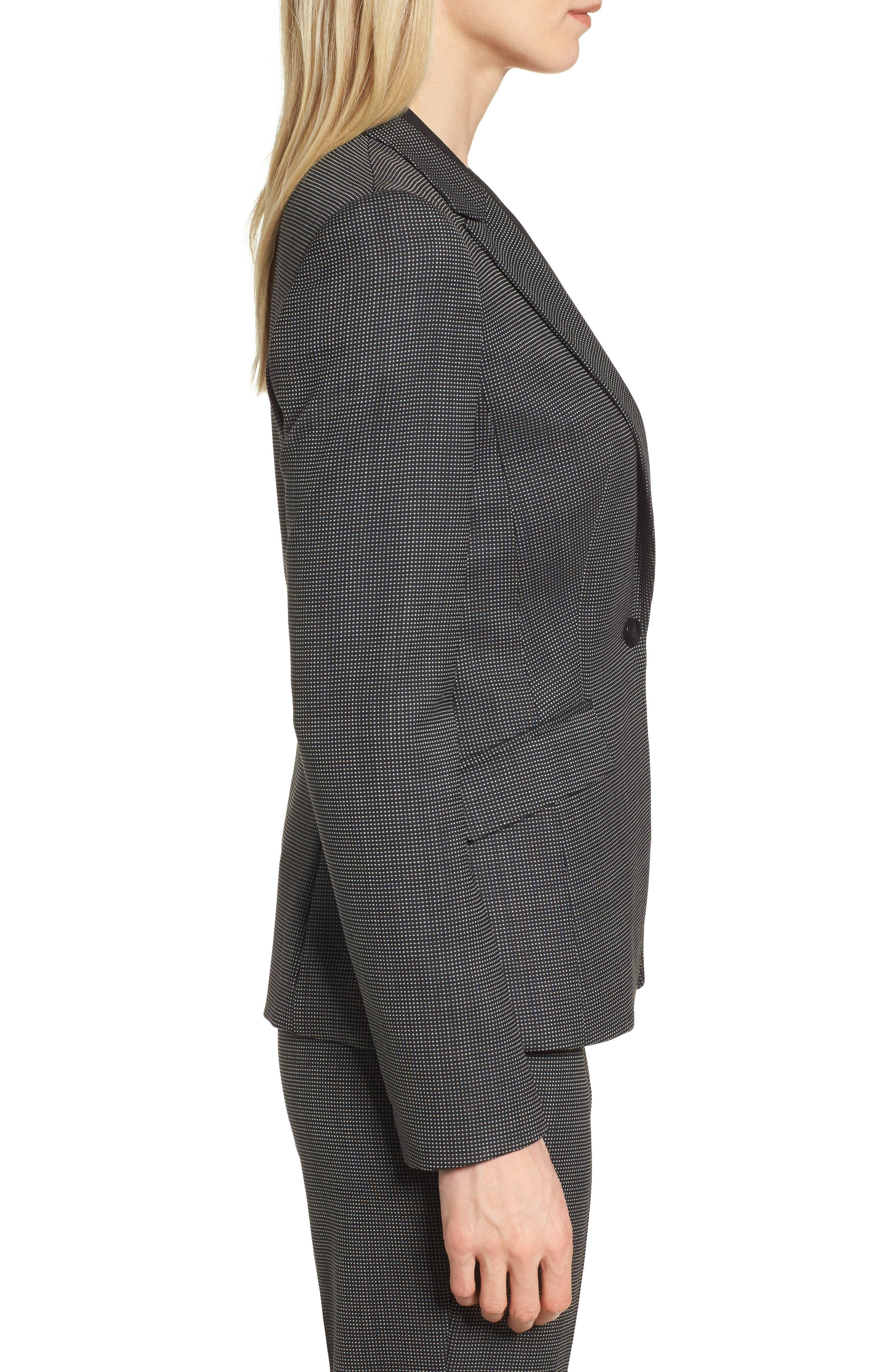 Jeresa Check Stretch Wool Suit Jacket,                             Alternate thumbnail 3, color,                             Black Fantasy