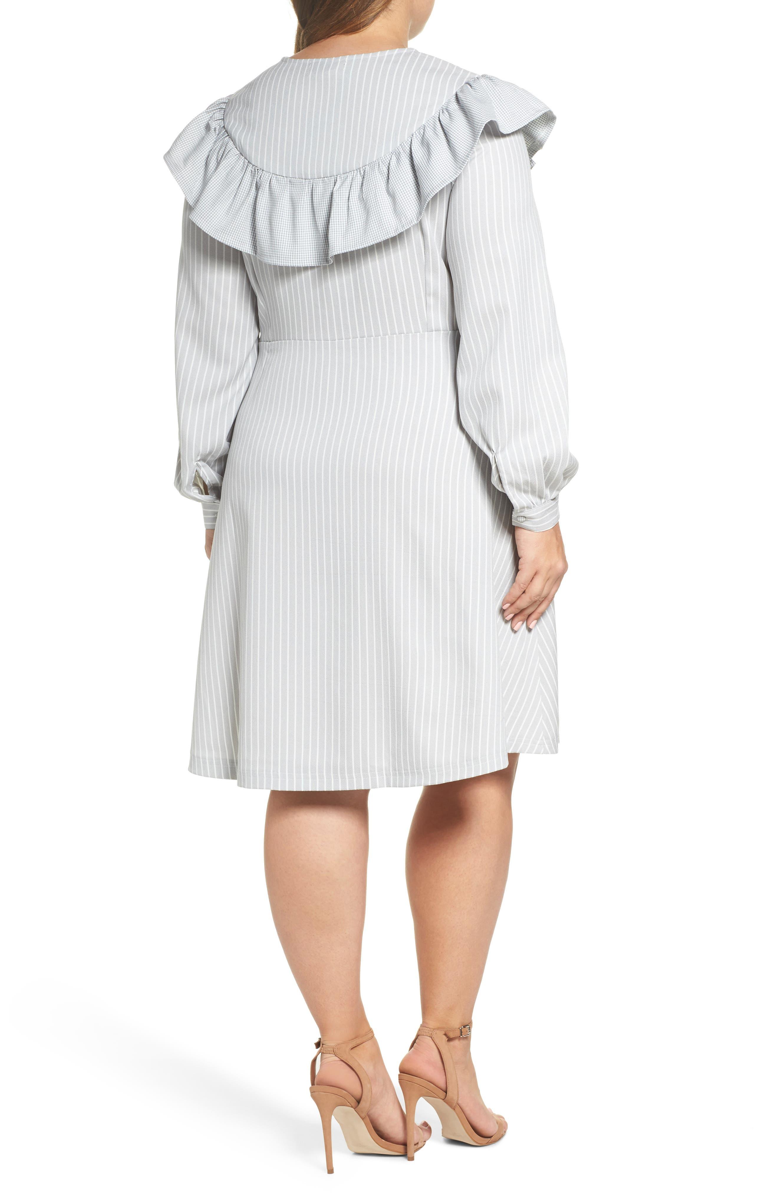 Check Ruffle Stripe Dress,                             Alternate thumbnail 2, color,                             Grey