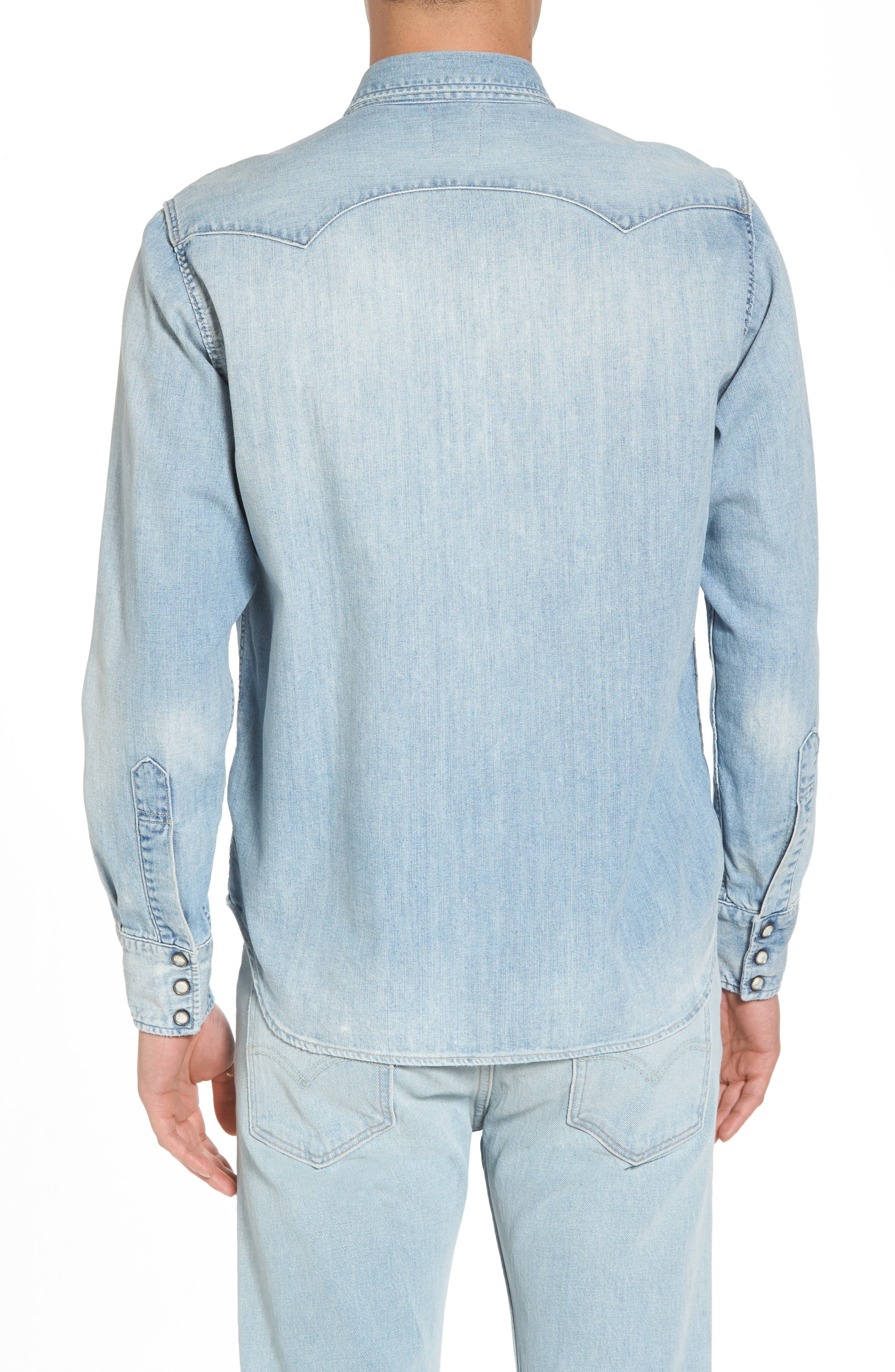 1955 Sawtooth Trim Fit Denim Western Shirt,                             Alternate thumbnail 2, color,                             Blue