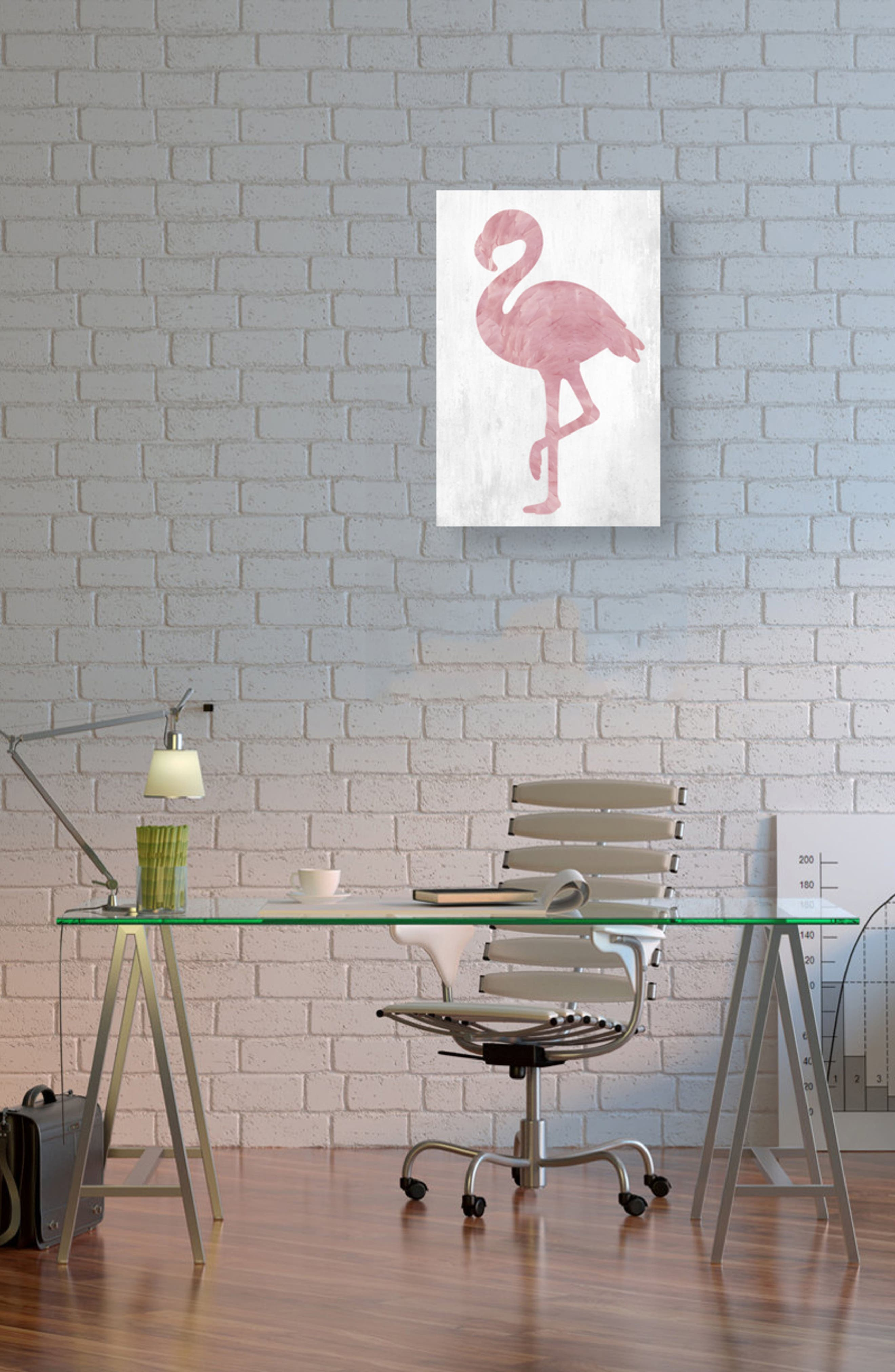 Pink Feathered Flamingo Canvas Wall Art,                             Alternate thumbnail 2, color,                             White