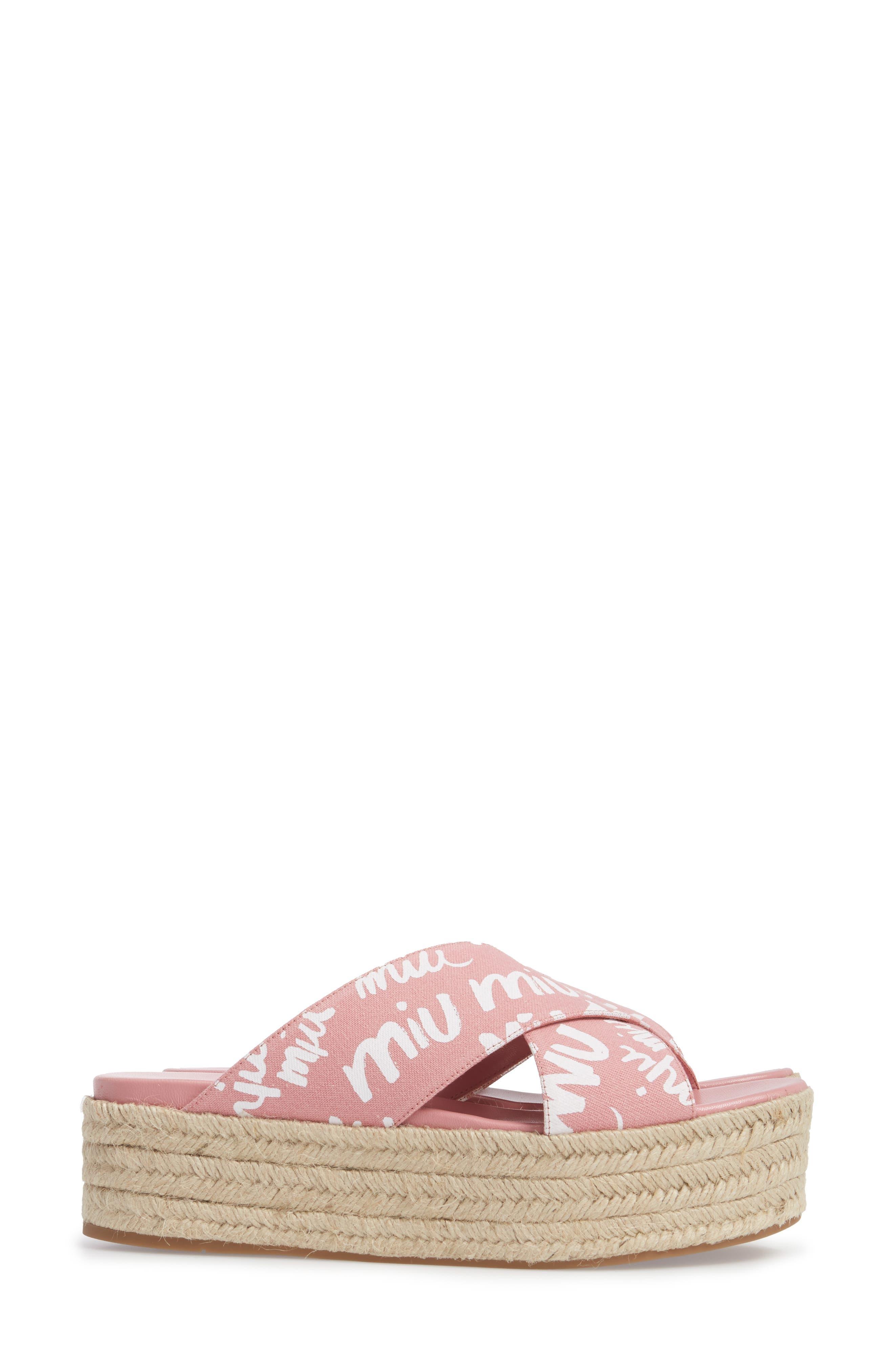 Logo Platform Espadrille Sandal,                             Alternate thumbnail 3, color,                             Pink