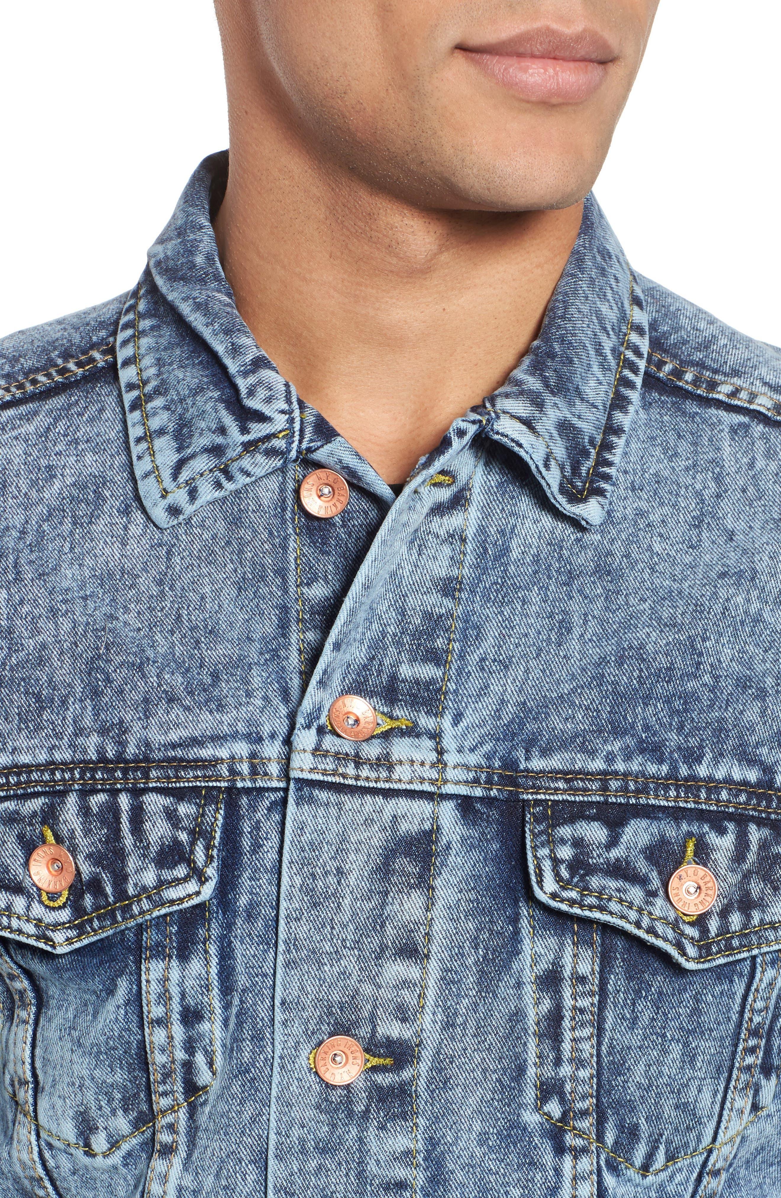 Classic Fit Denim Jacket,                             Alternate thumbnail 4, color,                             Blue Acid Wash