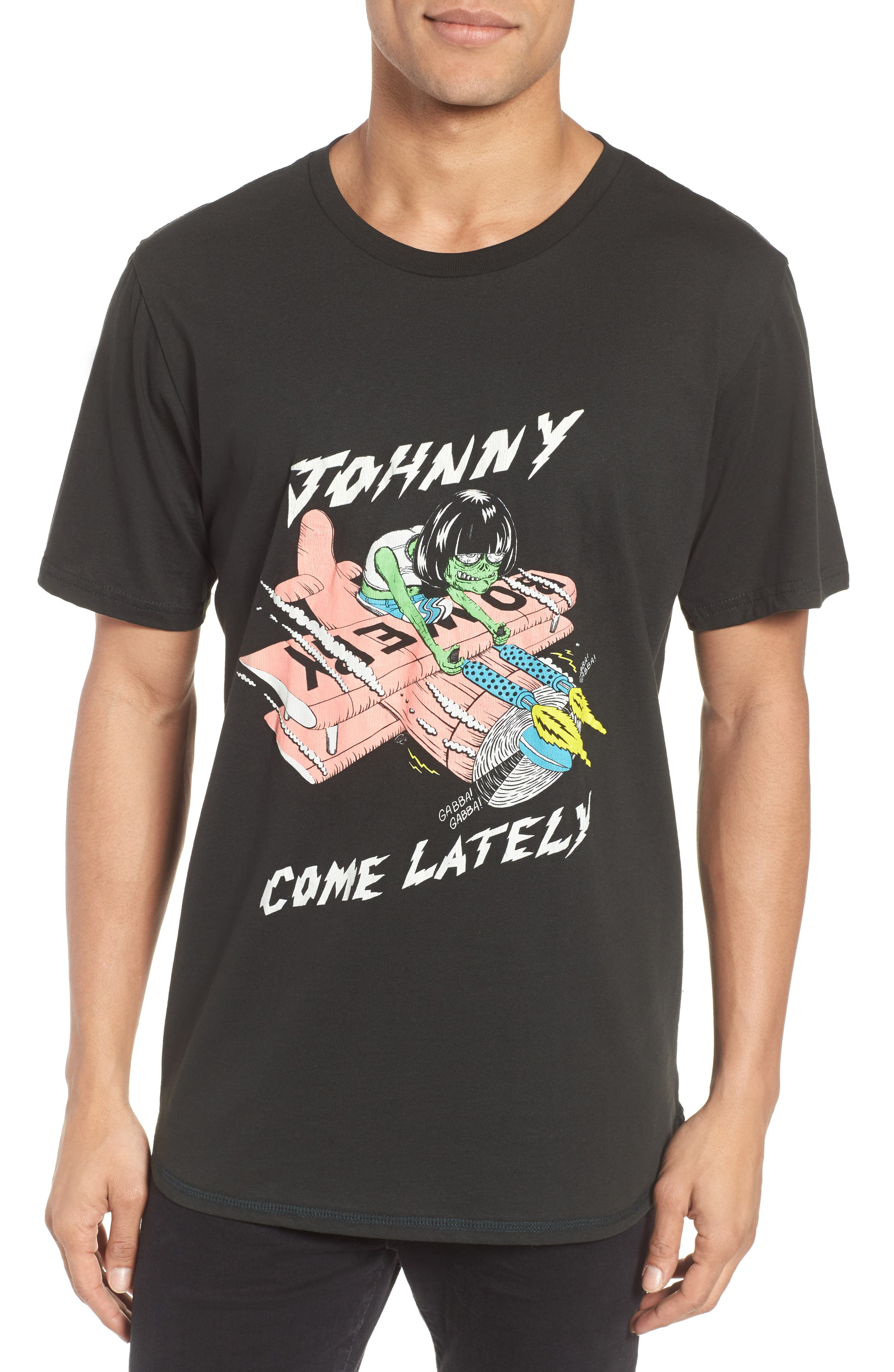 Johnny Come Lately Graphic T-Shirt,                             Main thumbnail 1, color,                             Neon On Dusty Black
