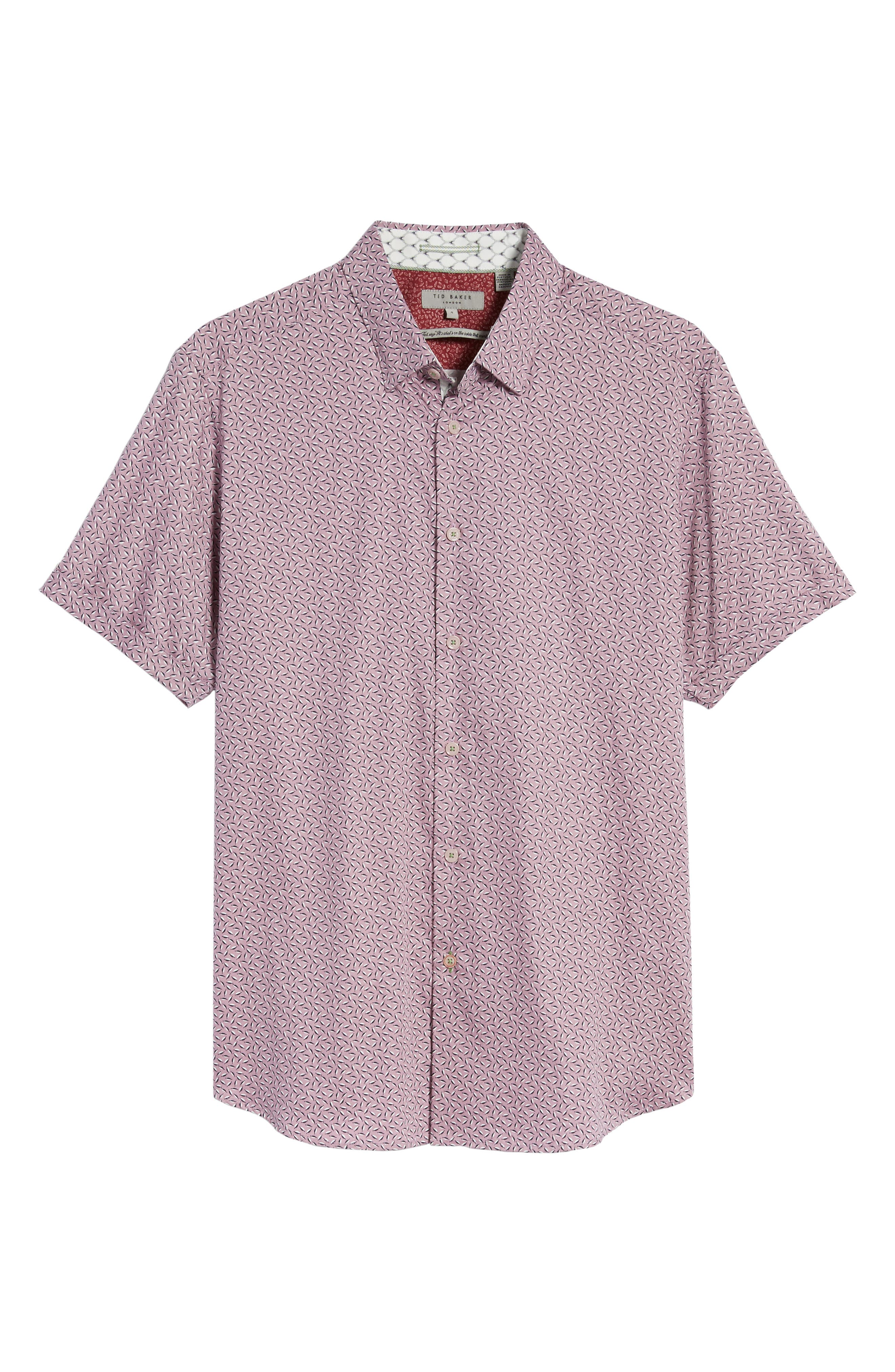 Narnar Trim Fit Geo Print Camp Shirt,                             Alternate thumbnail 6, color,                             Light Pink