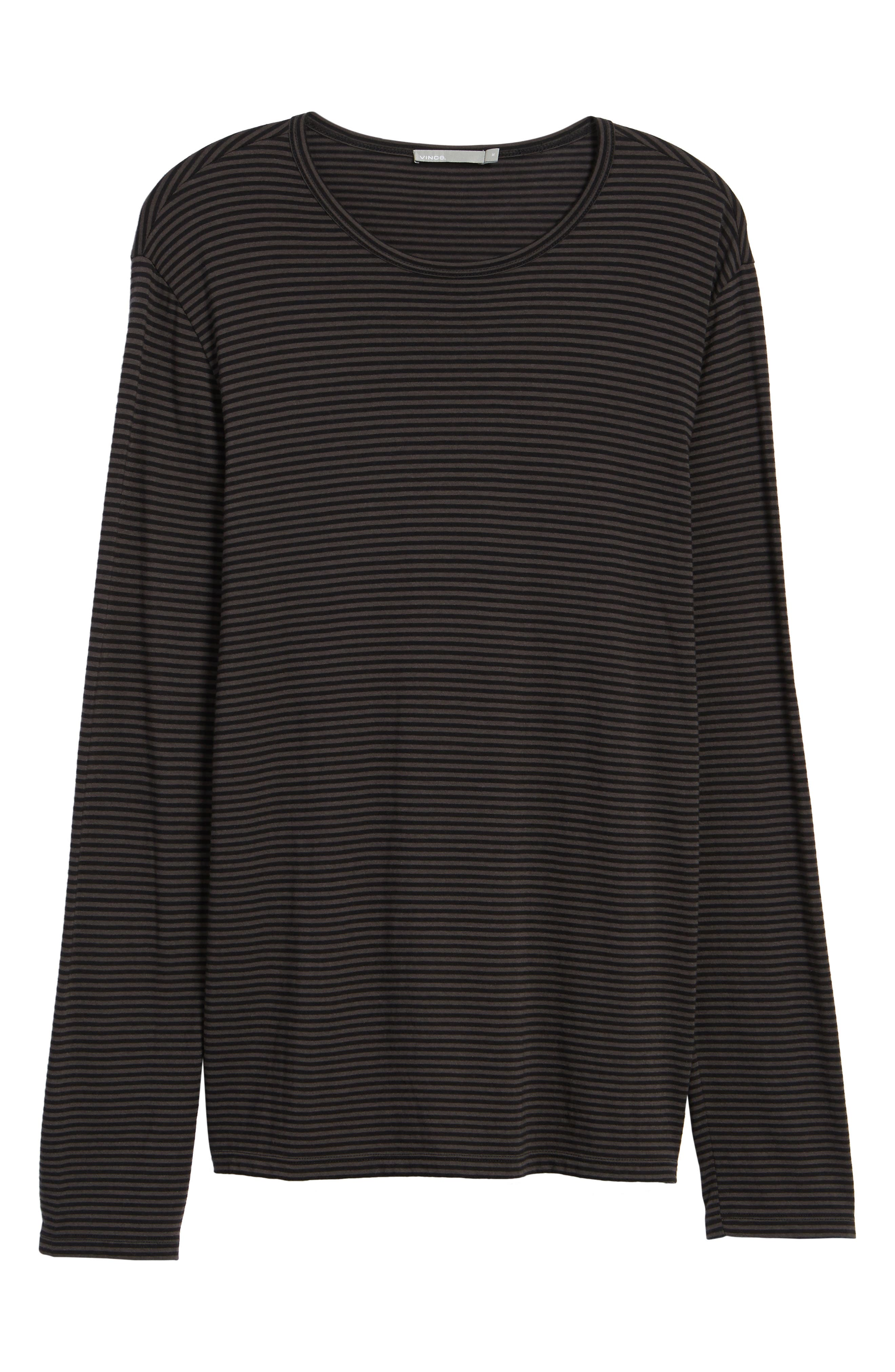 Feeder Stripe Long Sleeve Shirt,                             Alternate thumbnail 6, color,                             Black/ Stone Grey