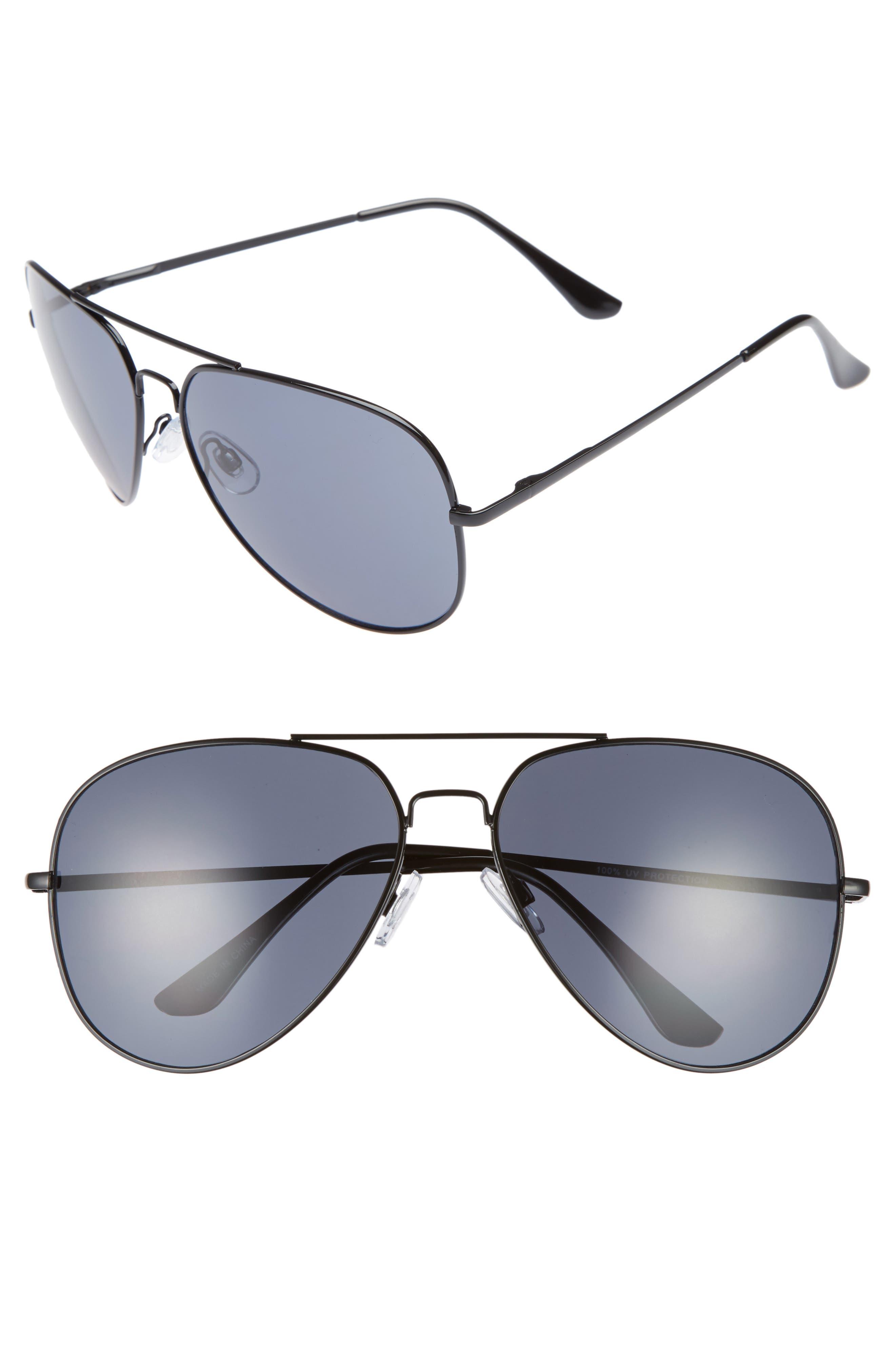 60mm Large Aviator Sunglasses,                         Main,                         color, Black/ Black