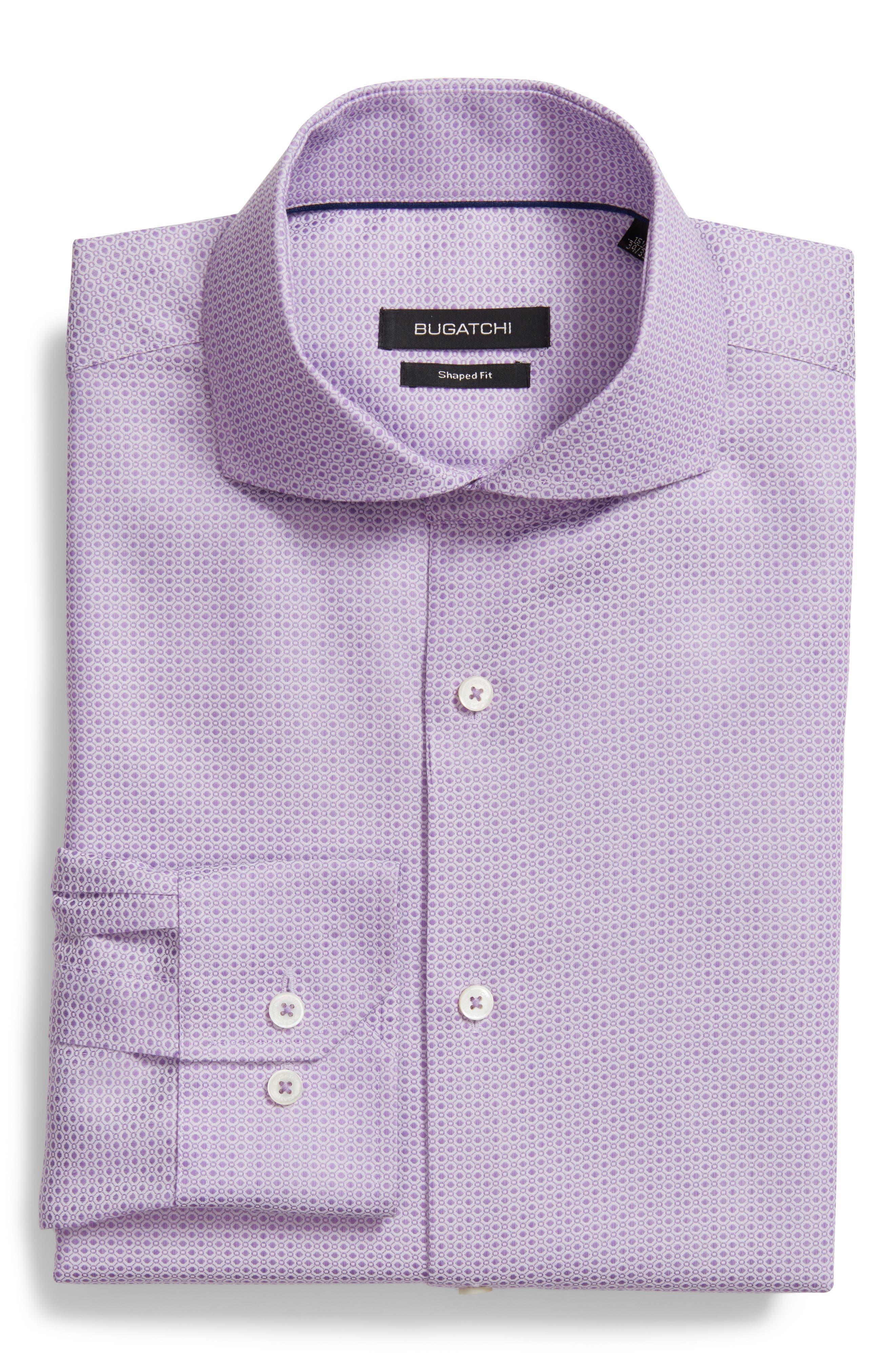 Shaped Fit Geometric Dress Shirt,                         Main,                         color, Lavender