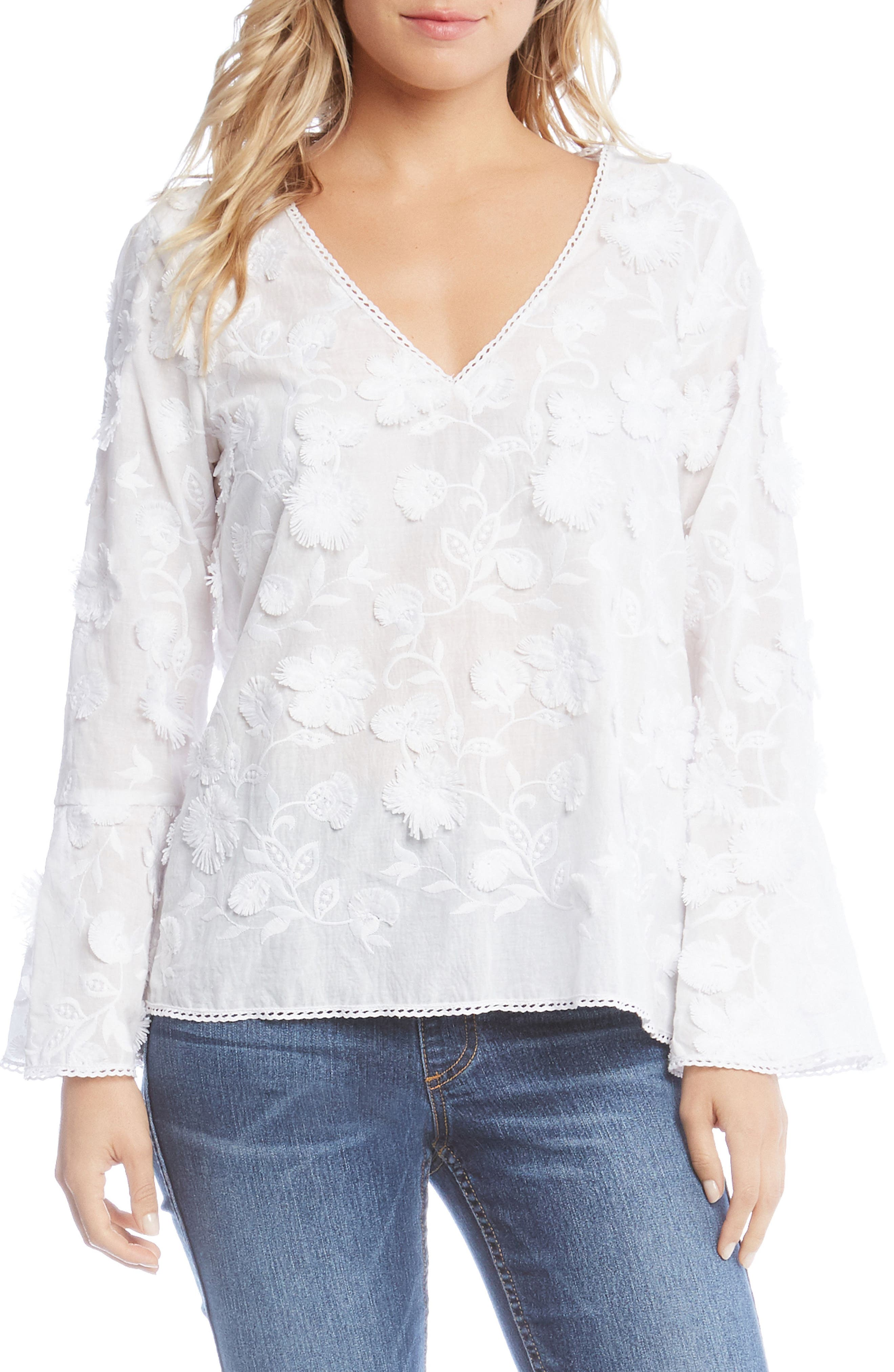 Floral Bell Sleeve Top,                         Main,                         color, White