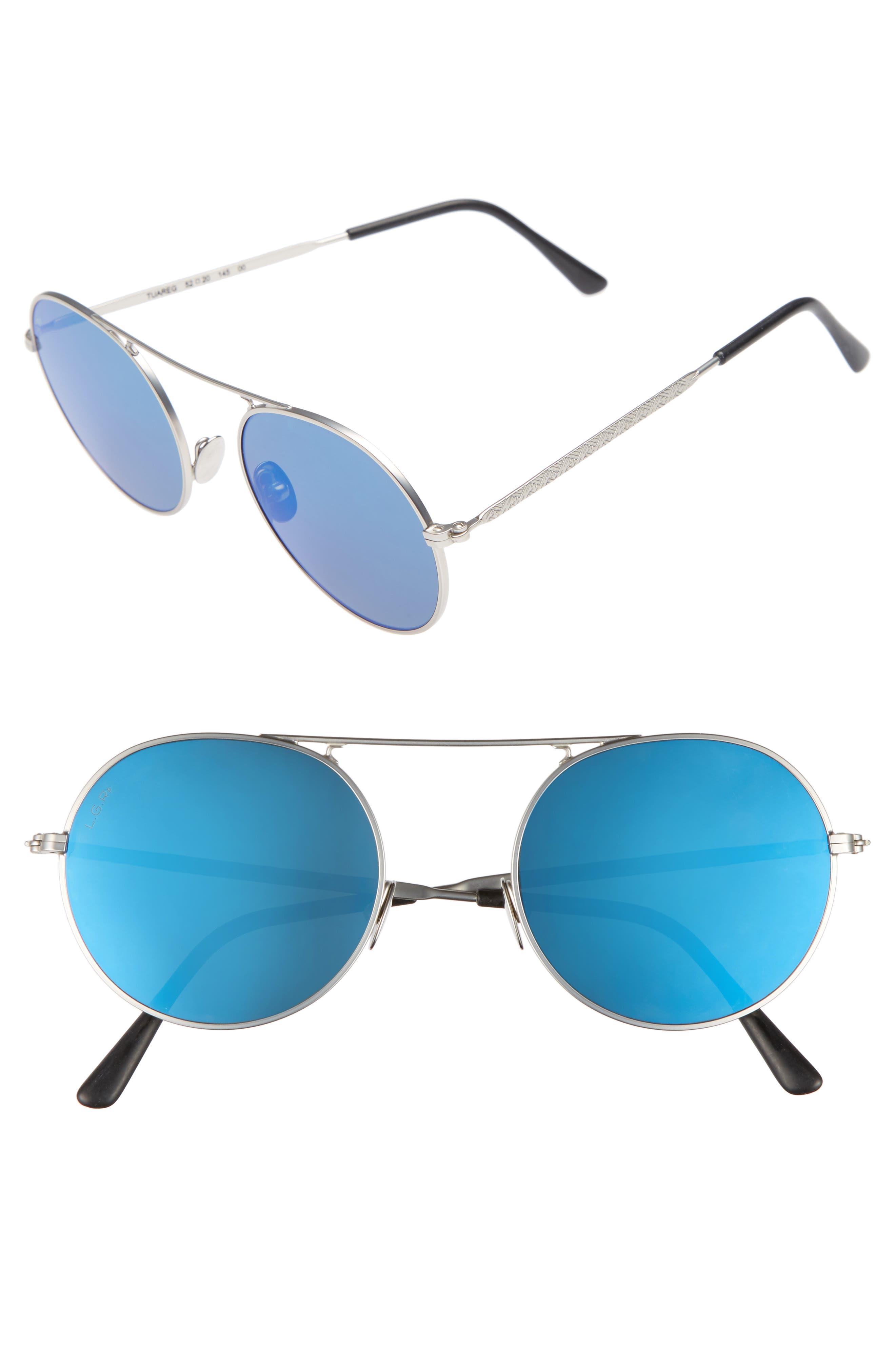Tuareg 52mm Polarized Sunglasses,                         Main,                         color, Silver Matte/ Blue Mirror
