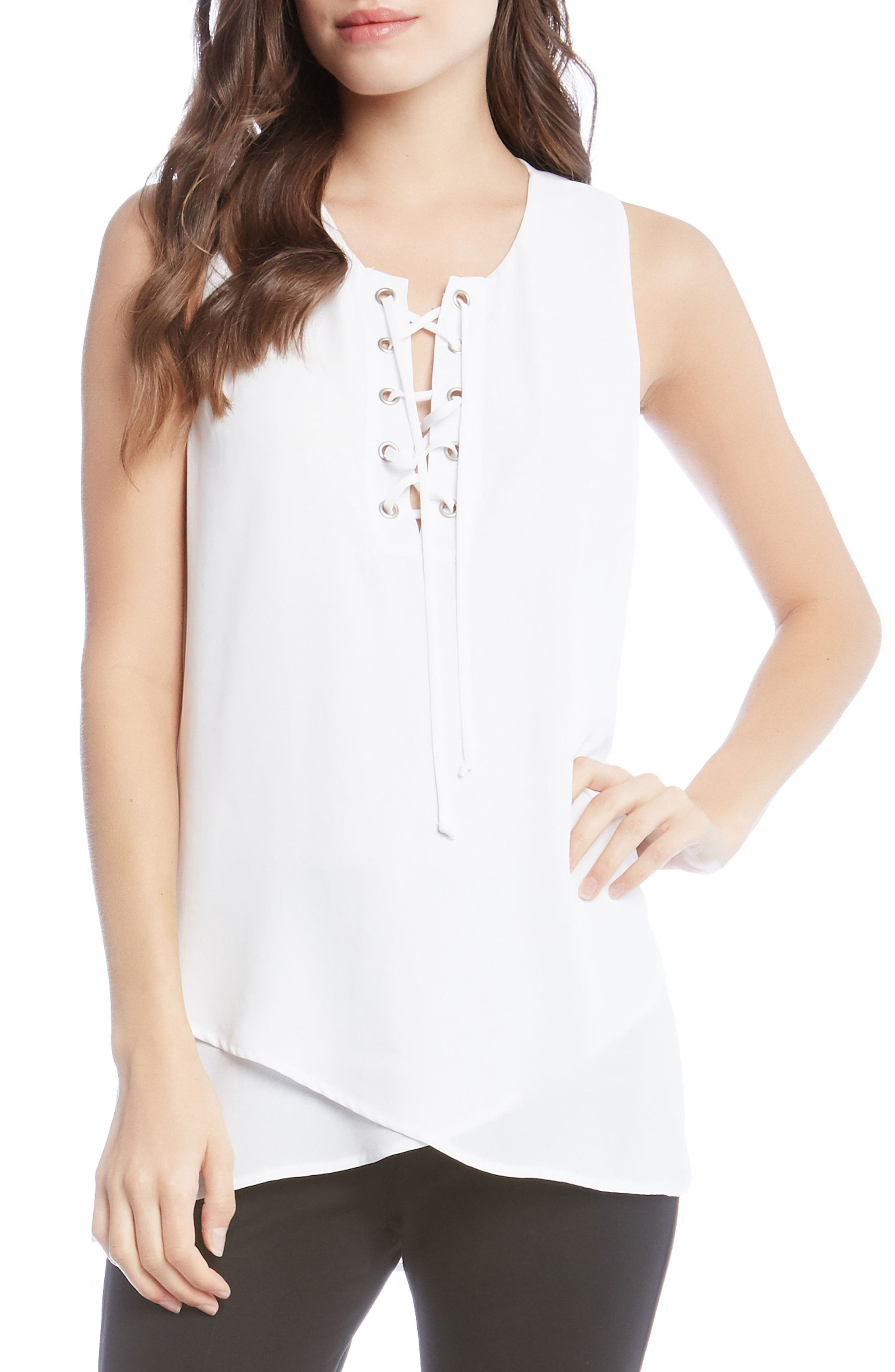 Asymmetrical Lace-Up Crepe Tank,                         Main,                         color, Off White